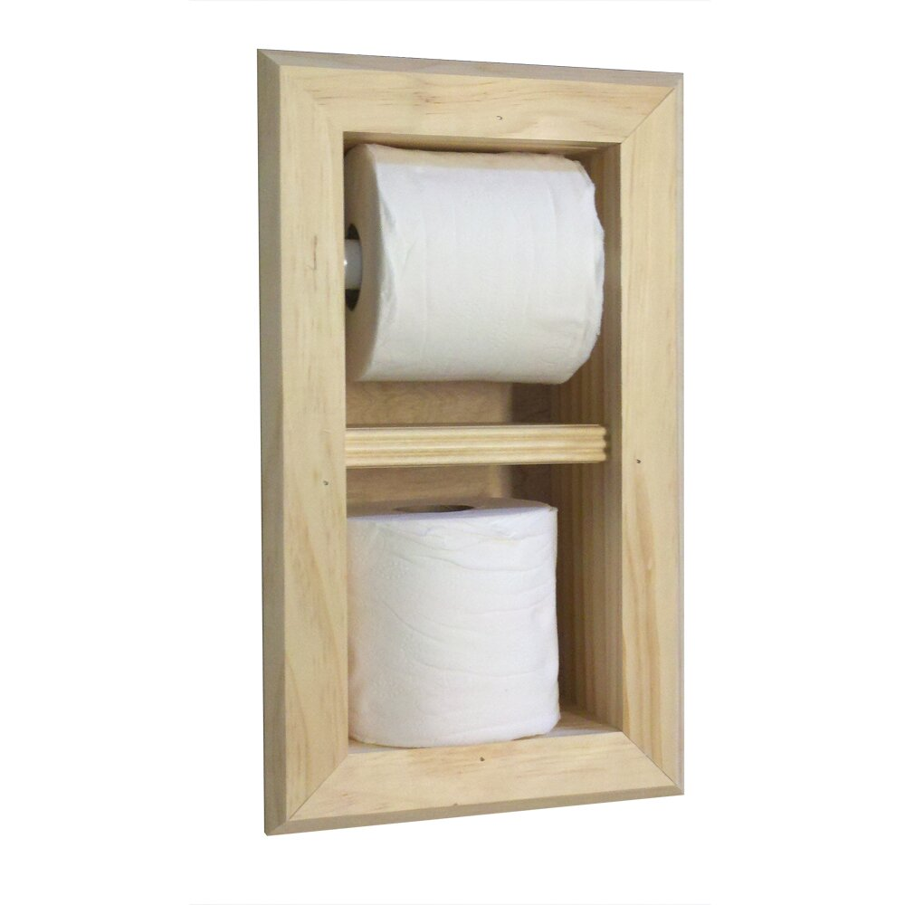 wg wood products recessed toilet paper and spare roll. Black Bedroom Furniture Sets. Home Design Ideas