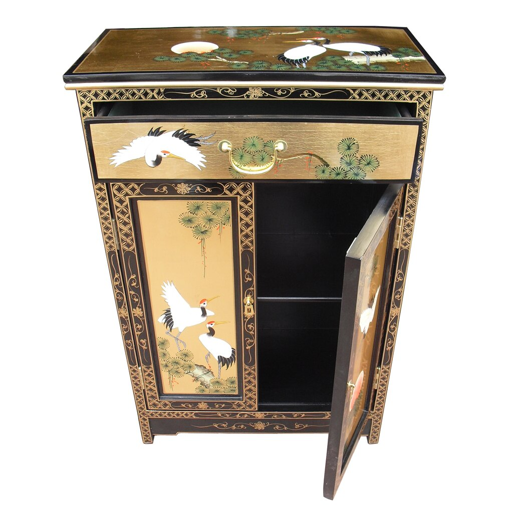 Grand international decor gold leaf 2 door 1 drawer for Grand international decor