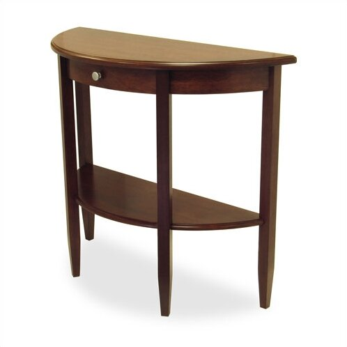 Winsome walnut half moon console table reviews wayfair for 1 2 moon table