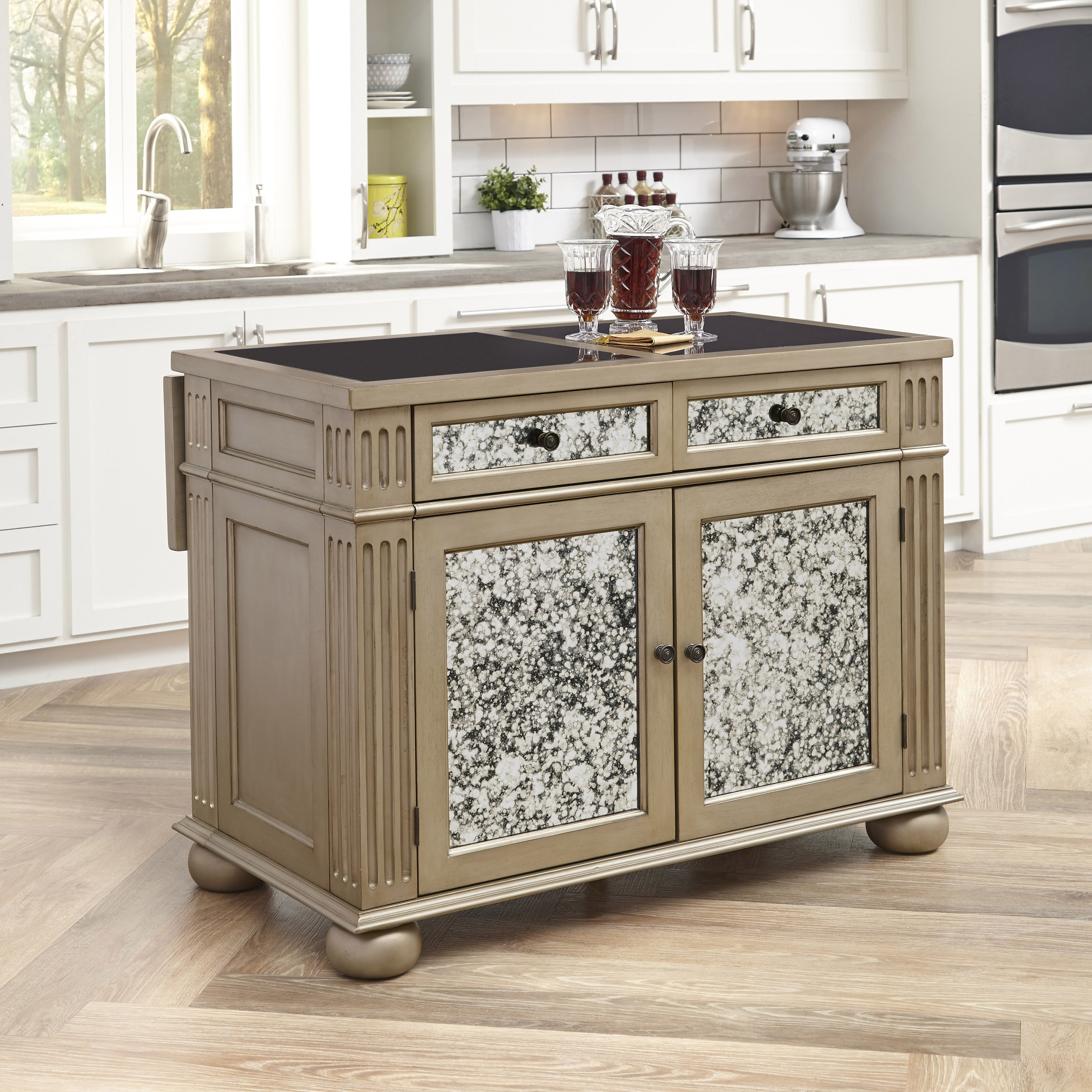 home styles visions kitchen island with granite top | wayfair