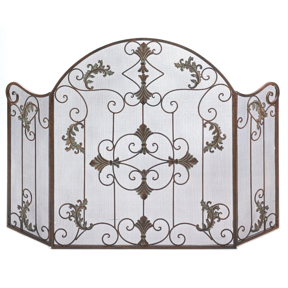 Zingz & Thingz Embellished Wrought Iron Fireplace Screen - Zingz & Thingz Embellished Wrought Iron Fireplace Screen & Reviews