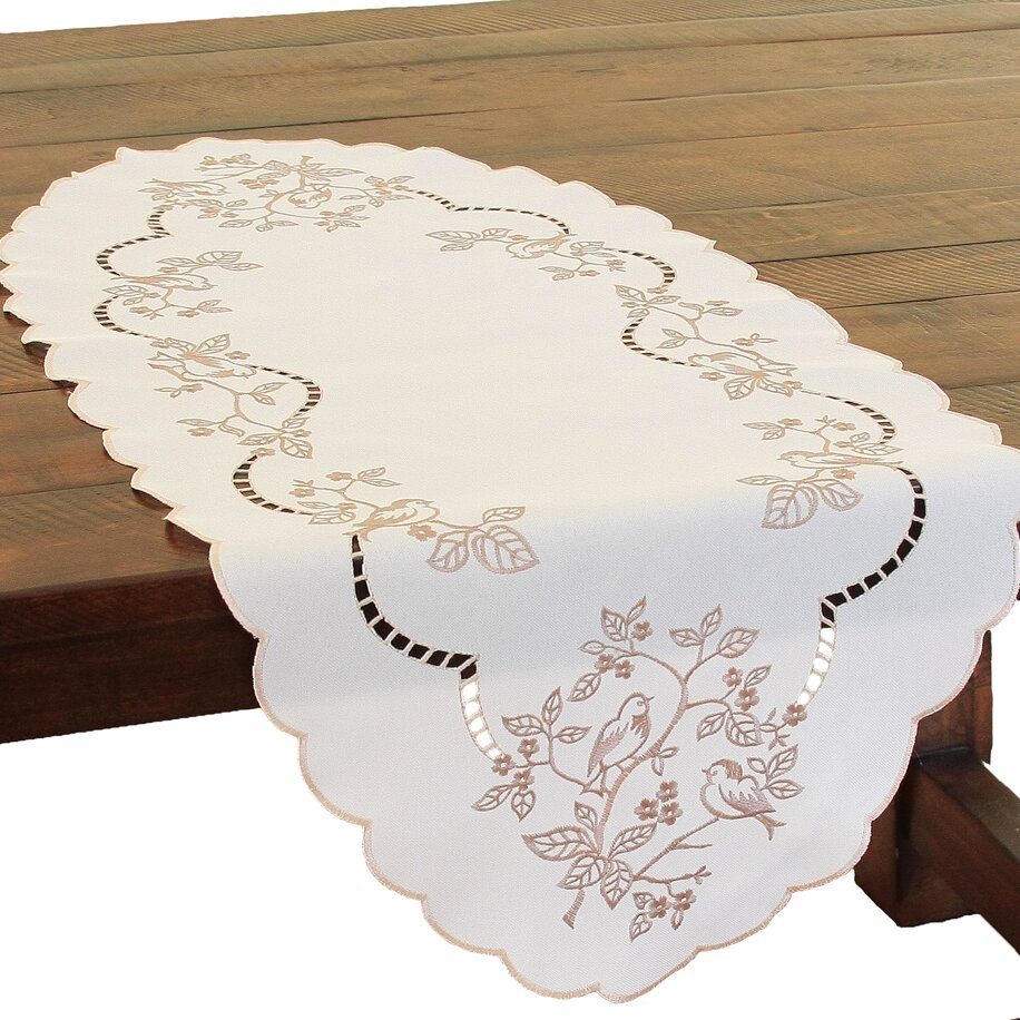 Xia home fashions woodland embroidered cutwork table for Glass cut work designs