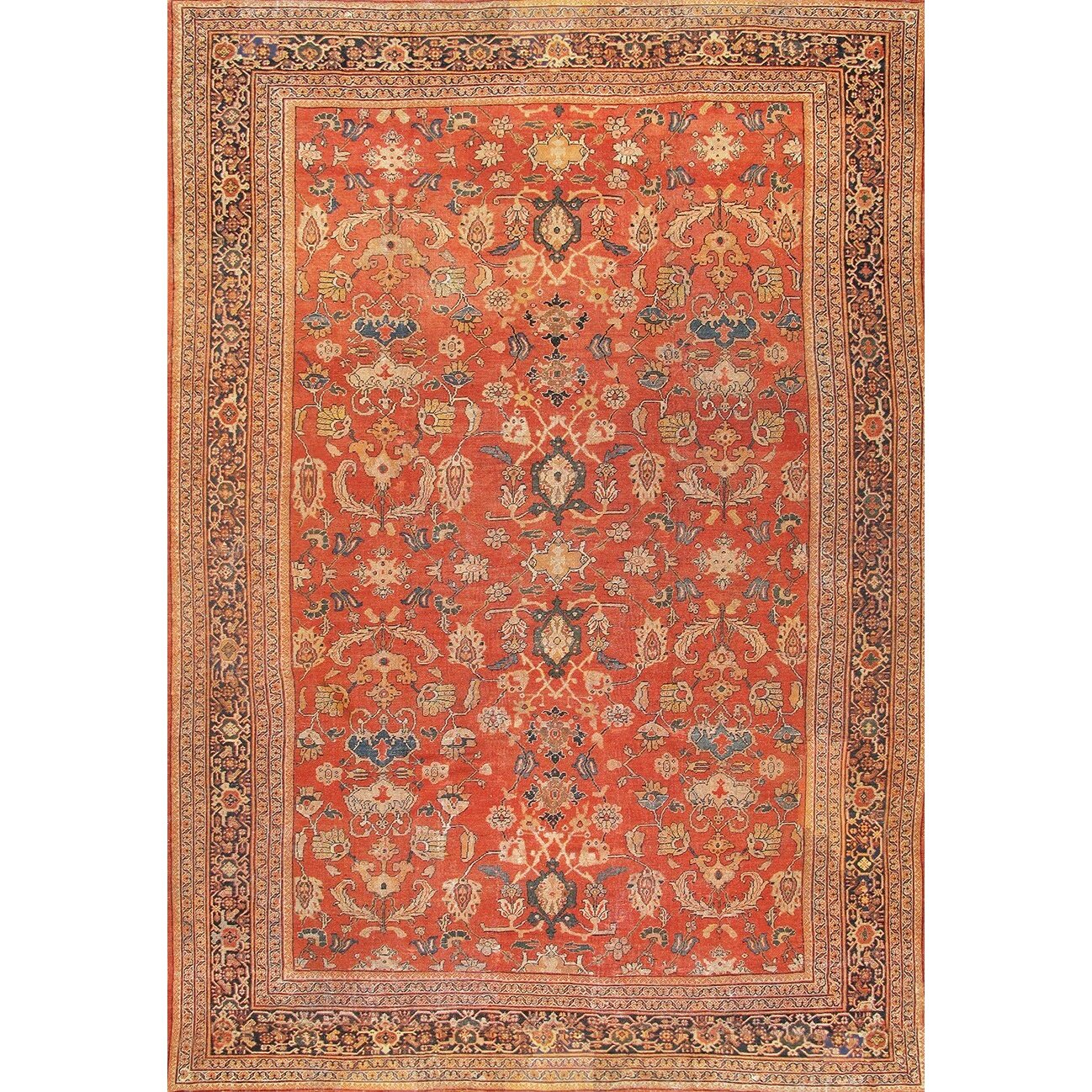 Pasargad Sultanabad Hand-Knotted Orange Area Rug