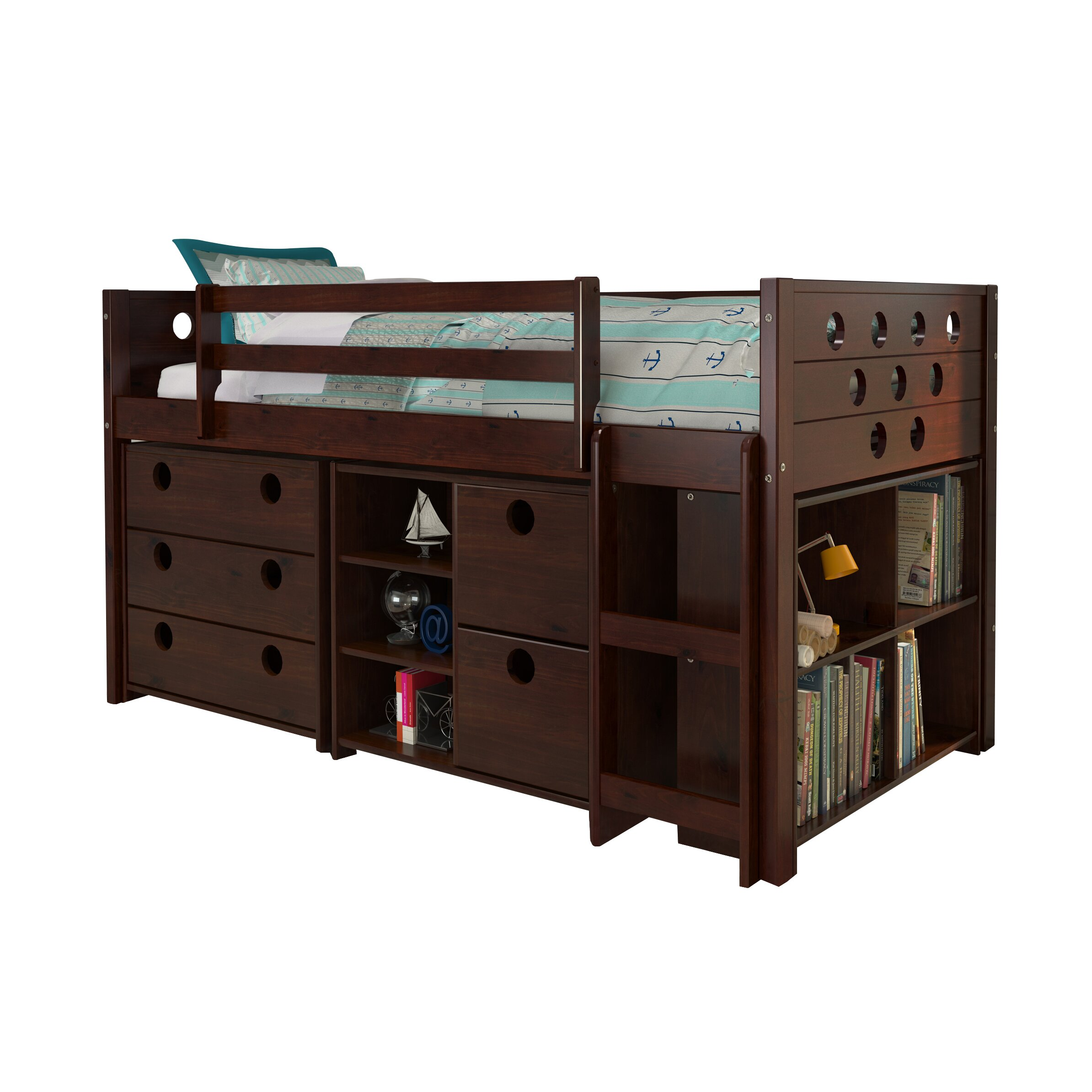 Donco Kids Circles Twin Loft Bed with Storage & Reviews