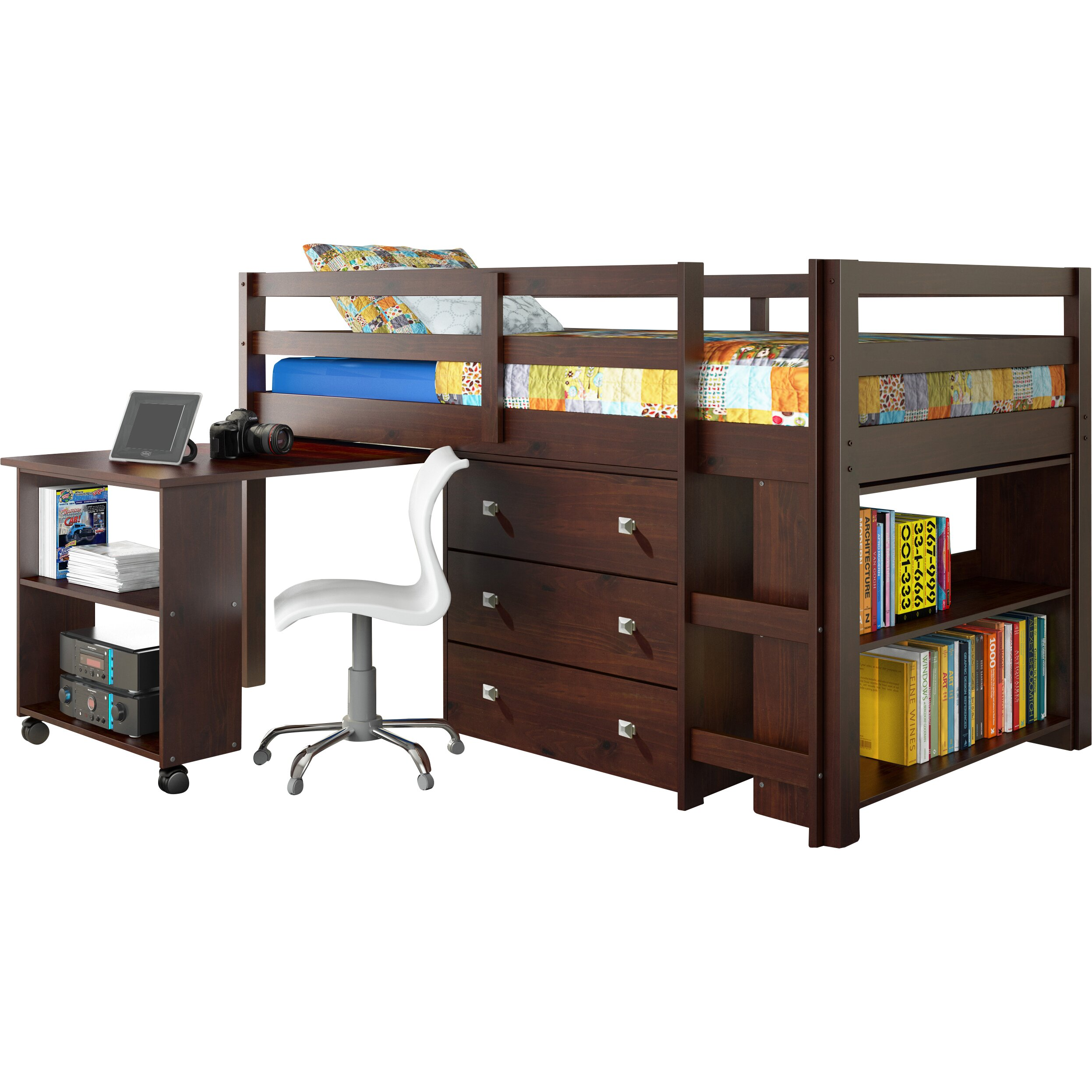 donco kids twin low loft bed with storage reviews wayfair. Black Bedroom Furniture Sets. Home Design Ideas