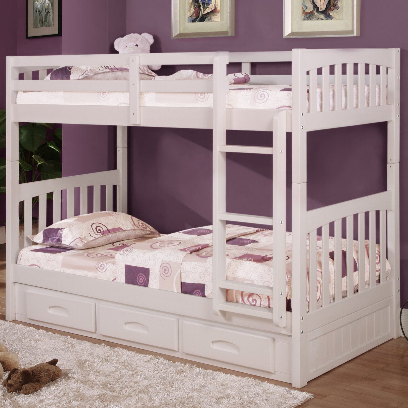 Donco kids mission twin over twin bunk bed with drawers for Kids twin bed with drawers