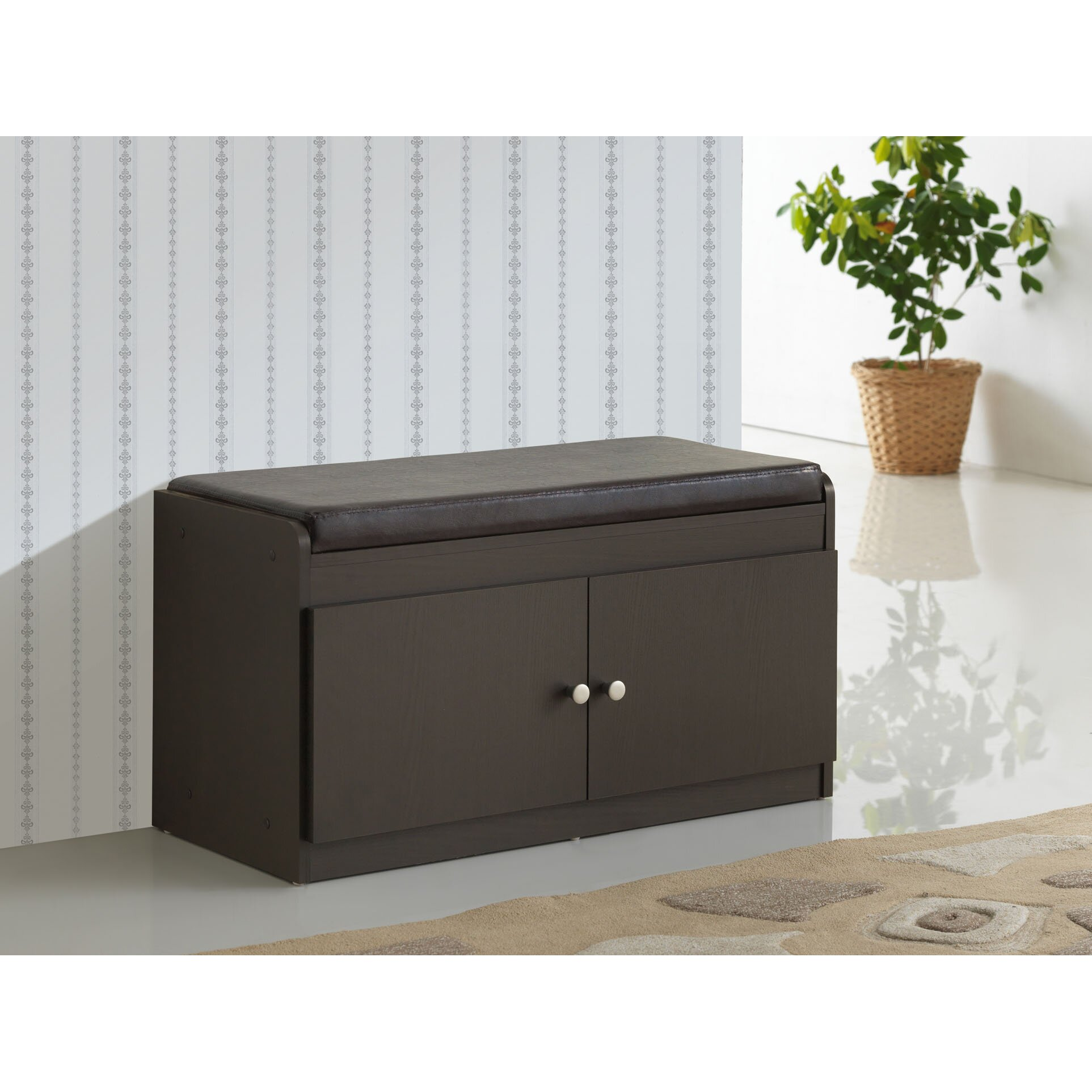 Baxton  Door Shoe Cabinet With Faux Leather Seating Bench