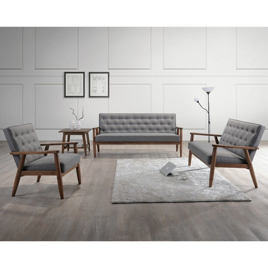 Three Piece Living Room Set Wholesale Interiors Sorrento Baxton Studio Upholstered 3 Piece