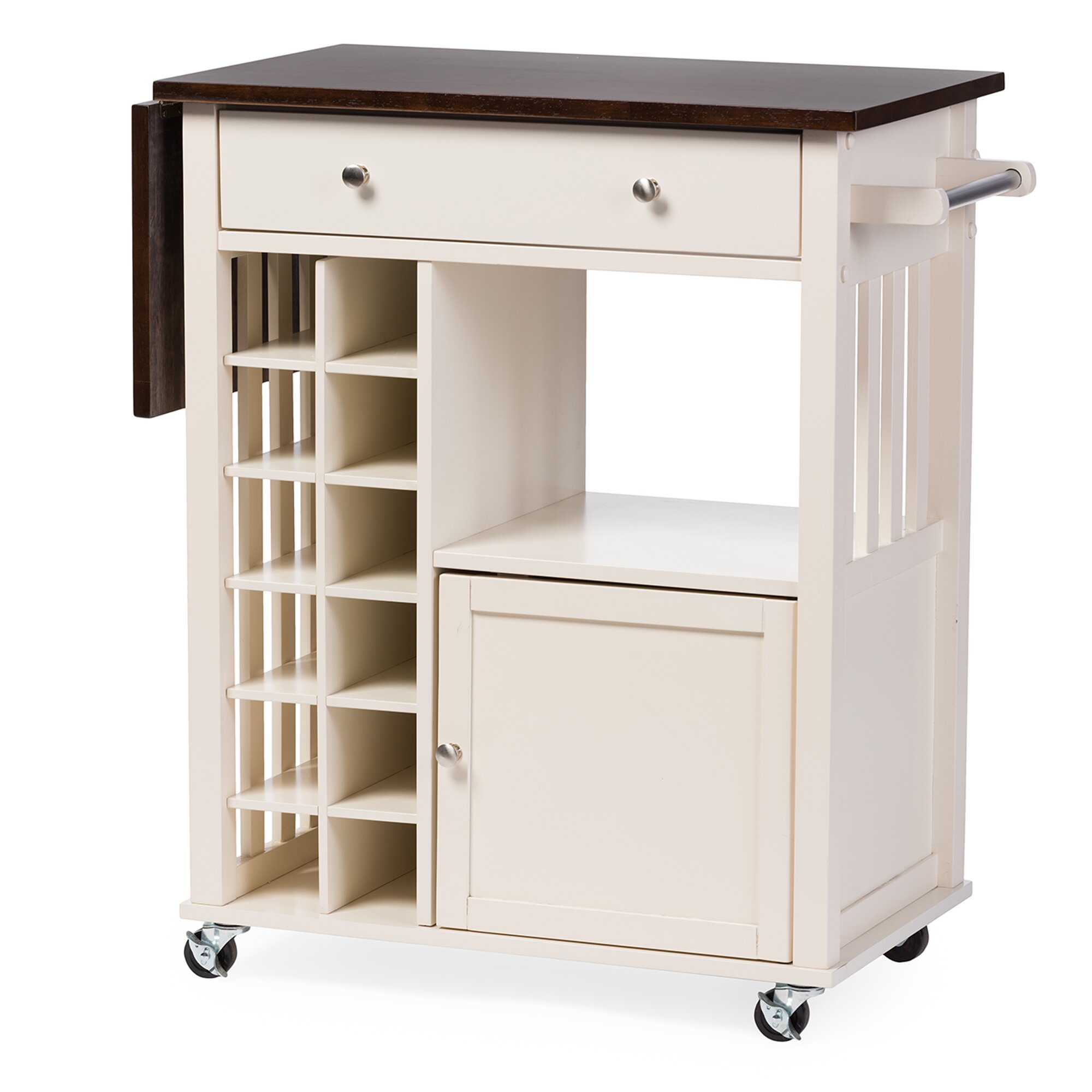 wholesale interiors baxton studio justin solid wood kitchen cart with dark oak drop leaf top and: leaf kitchen cart