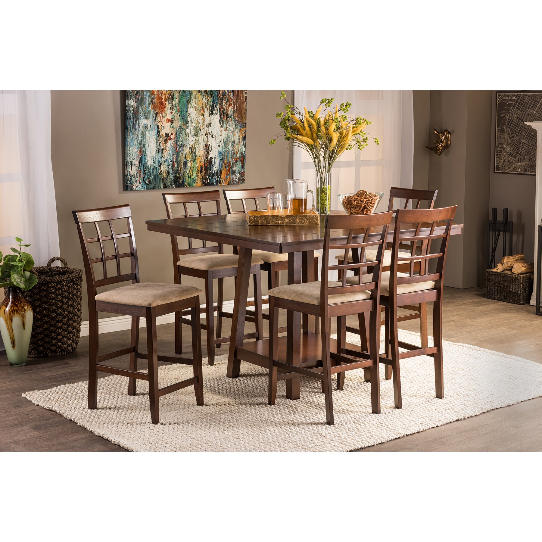 7 Piece Counter Height Dining Room Sets: Wholesale Interiors Baxton Studio Katelyn 7 Piece Counter