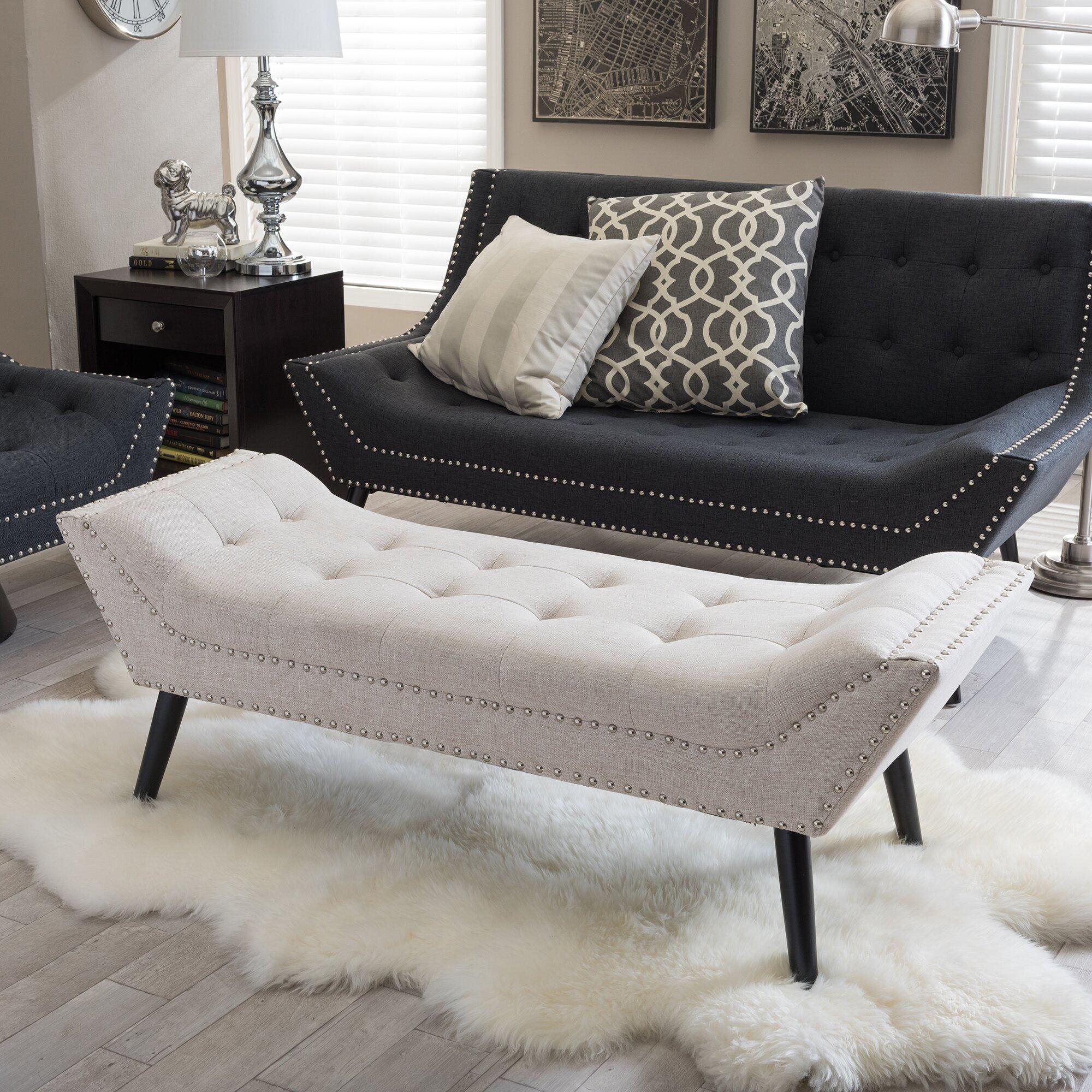 wholesale interiors baxton studio upholstered bedroom bench