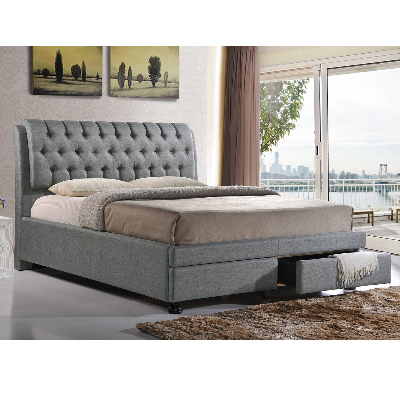 wholesale interiors baxton studio upholstered storage platform bed