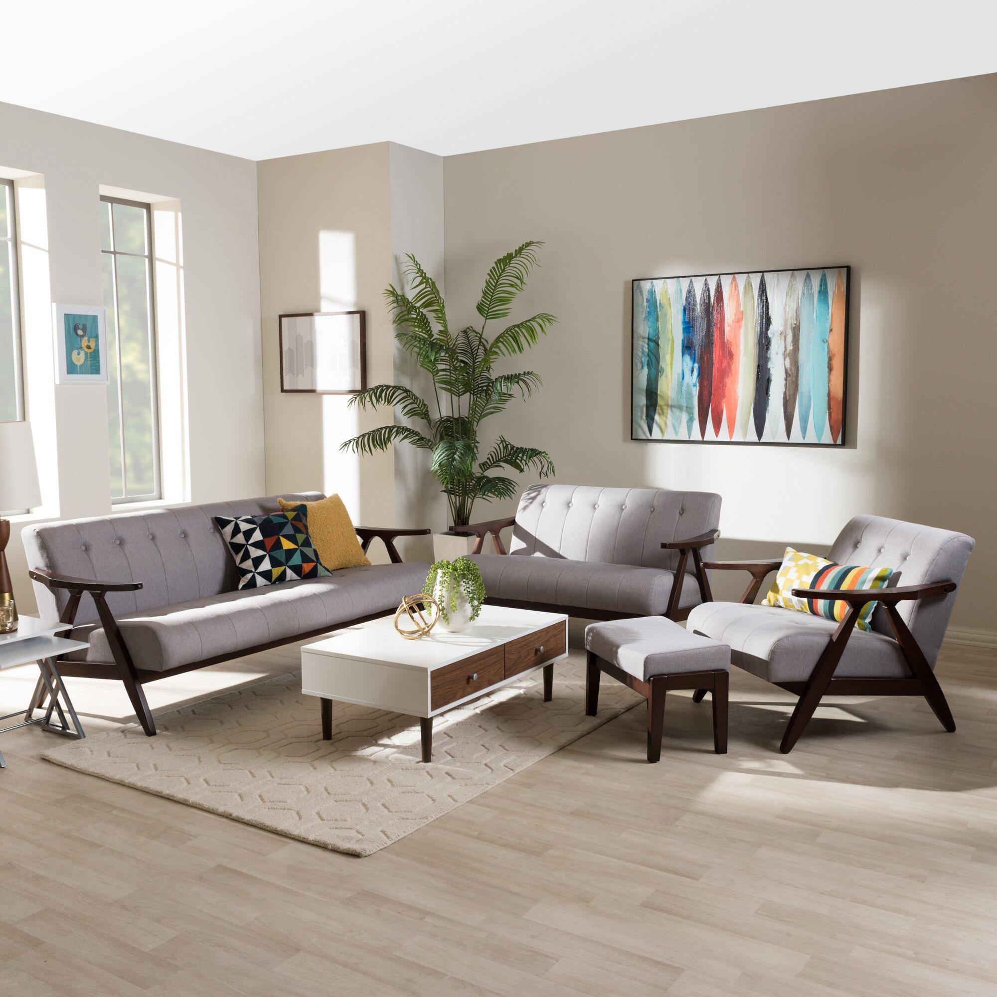 Modern wood fabric 4 piece living room set reviews wayfair ca