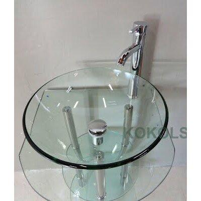 Kokols 24 single pedestal bathroom vanity set reviews for Yesler wall mount glass sink