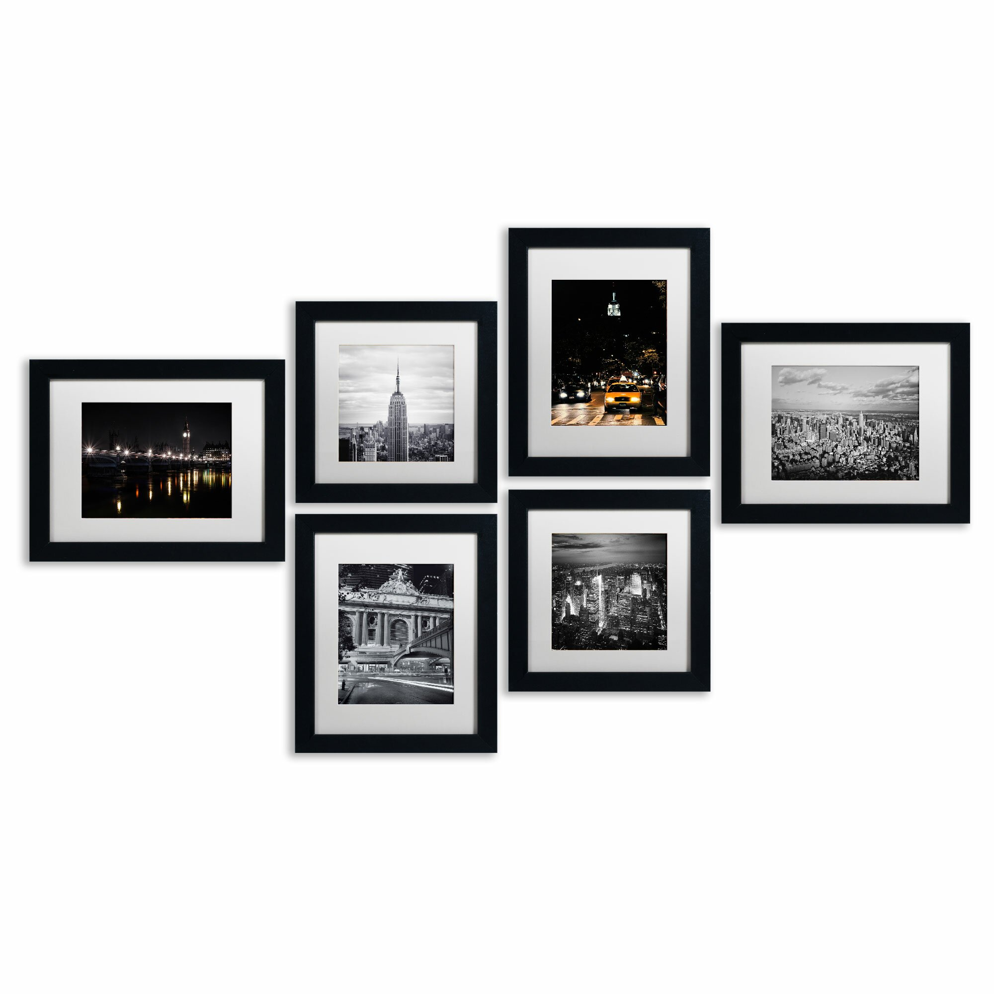 trademark fine art urban framed 6 piece photo graphic print set on paper
