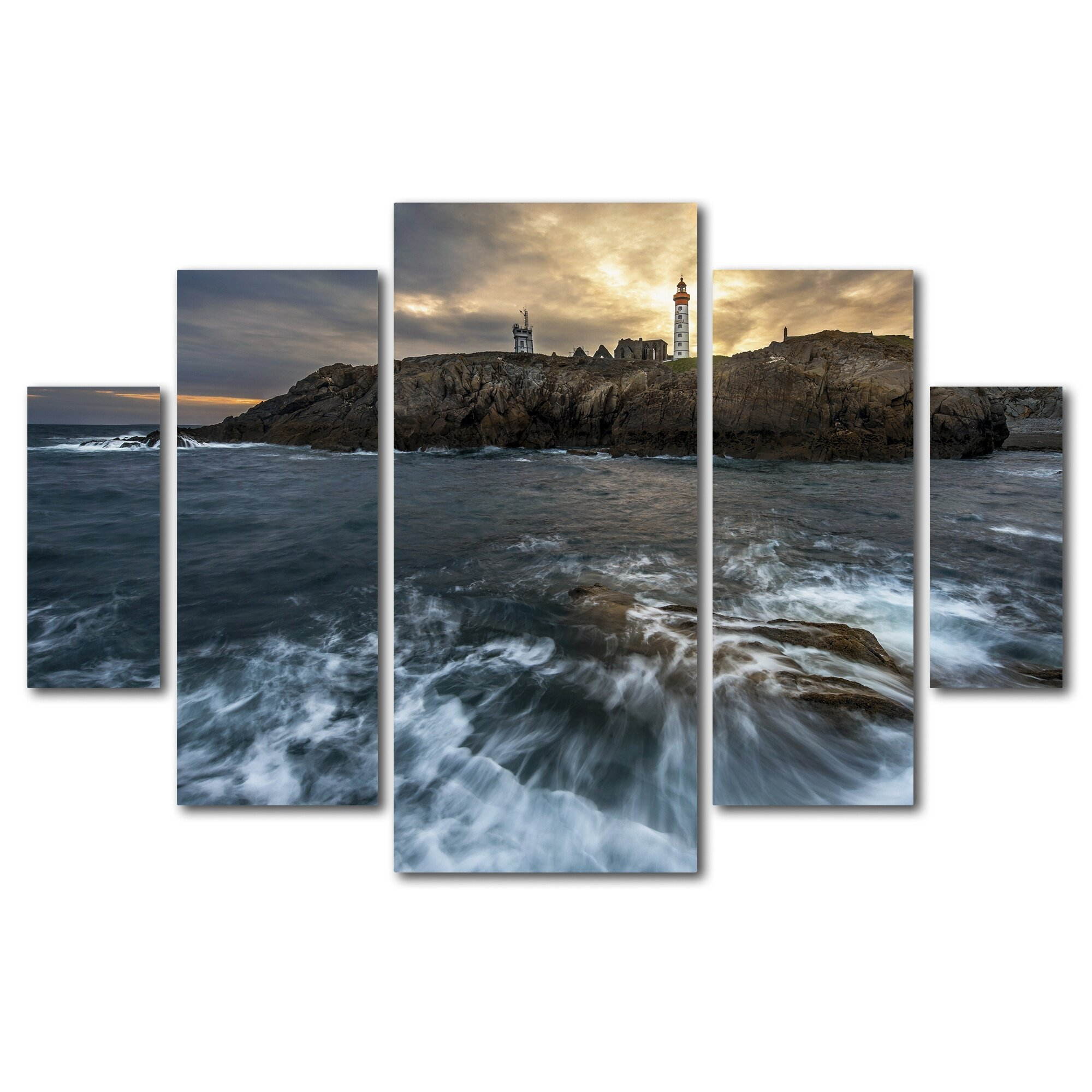 Trademark Art The Lighthouse by Mathieu Rivrin 5 Piece ... - Trademark Fine Art The Lighthouse by Mathieu Rivrin 5 Piece Photographic  Print on Wrapped Canvas Set