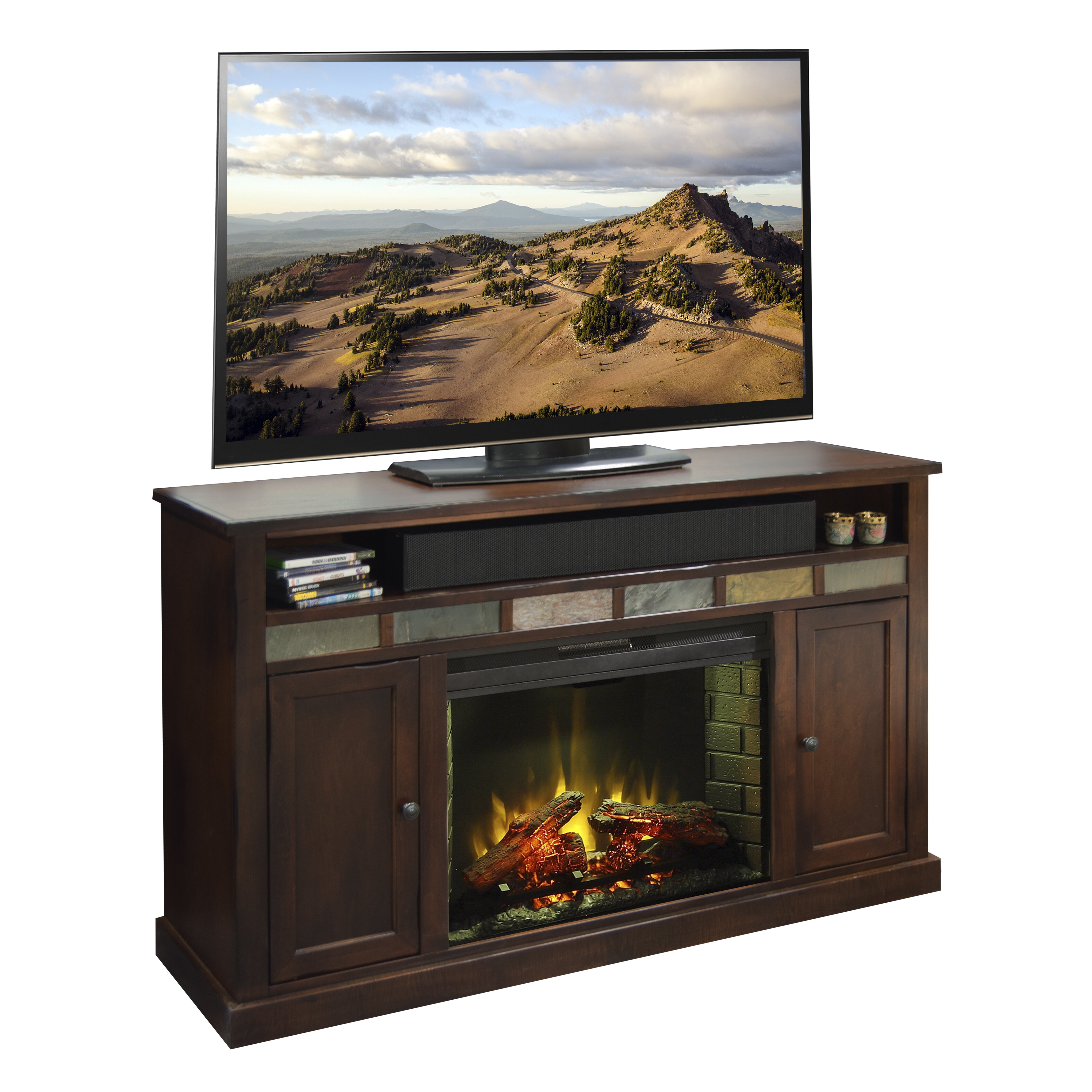 legends furniture fire creek tv stand with electric