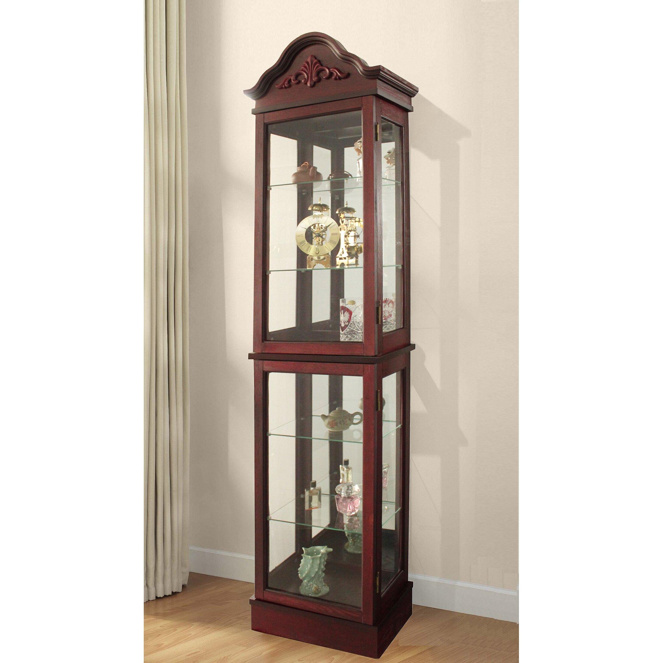 Glass Curio Cabinets With Lights Jenlea Curio Cabinet Reviews Wayfair