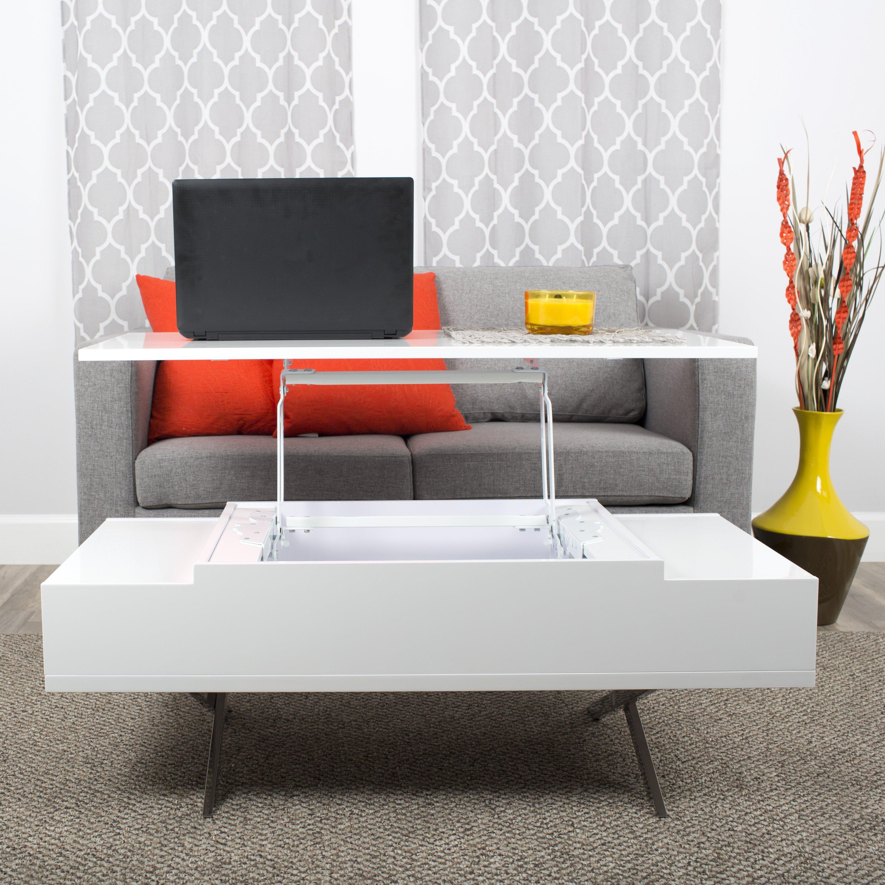 Matrix Stelar White Lift Top Rectangular Coffee Table