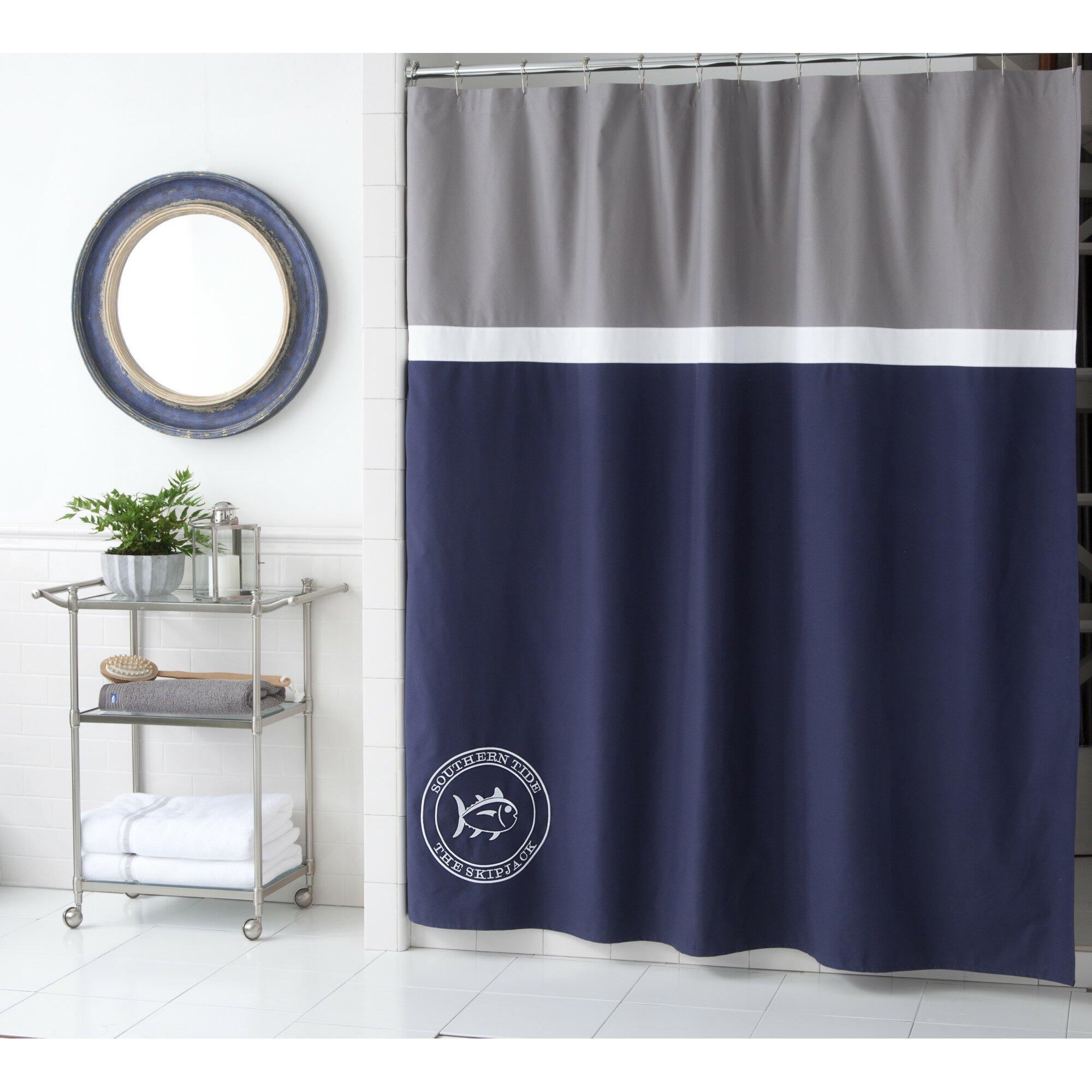 Yellow stripe shower curtain - Starboard Cotton Shower Curtain
