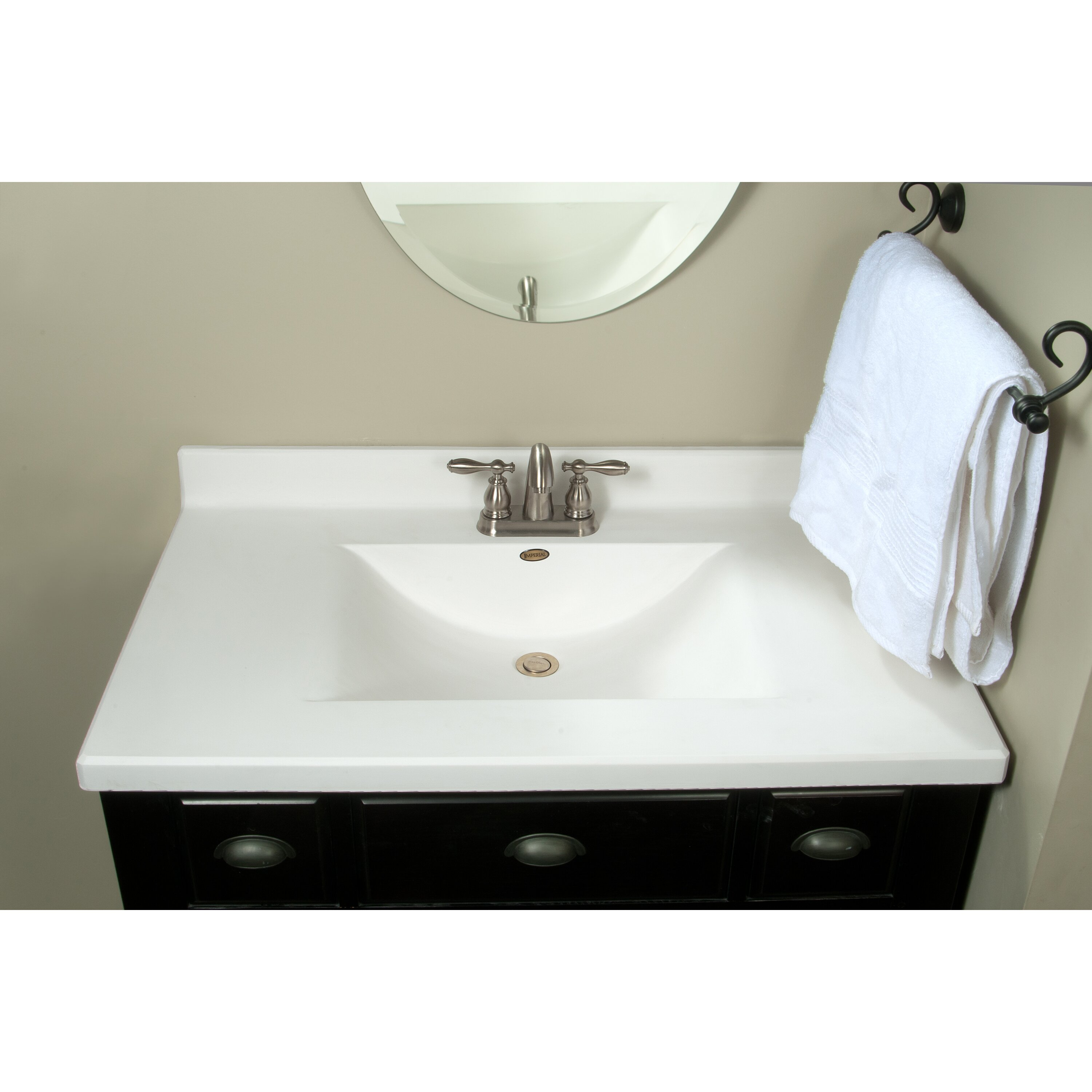 "imperial center wave bowl 37"" single bathroom vanity top & reviews"