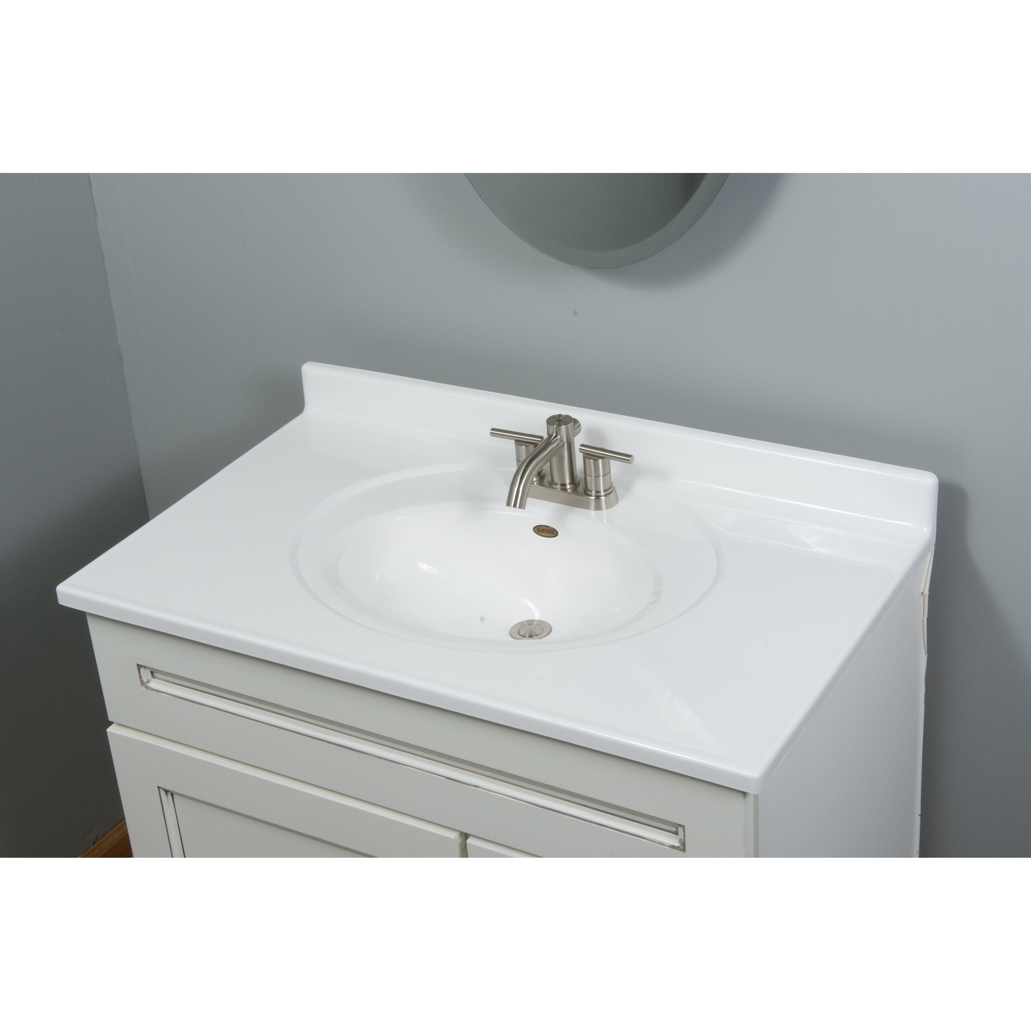 Imperial Recessed Center Oval 37 Single Bathroom Vanity Top Revie