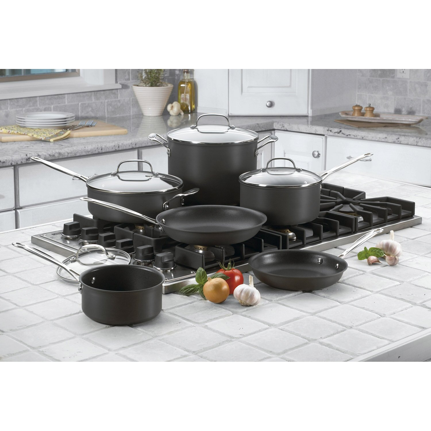 Non Stick Kitchen Appliances Cuisinart Chefs Classic Nonstick Hard Anodized 10 Piece Cookware