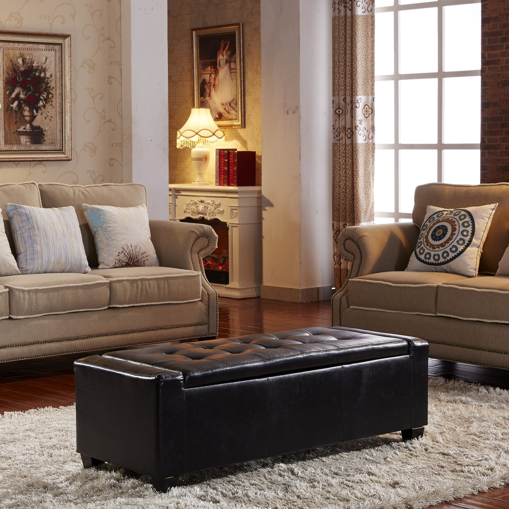 Living Room Bench With Storage Noya Usa Contemporary Leather Storage Entryway Bench Reviews