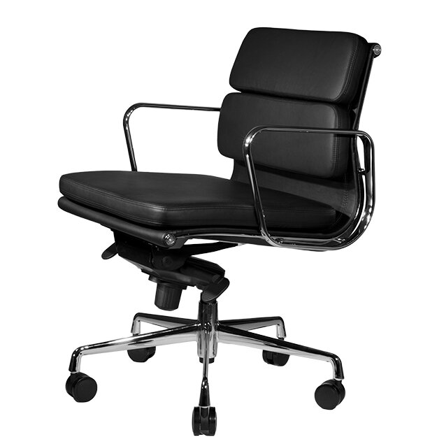 wobi office clyde midback leather desk chair - Gray Leather Office Chair
