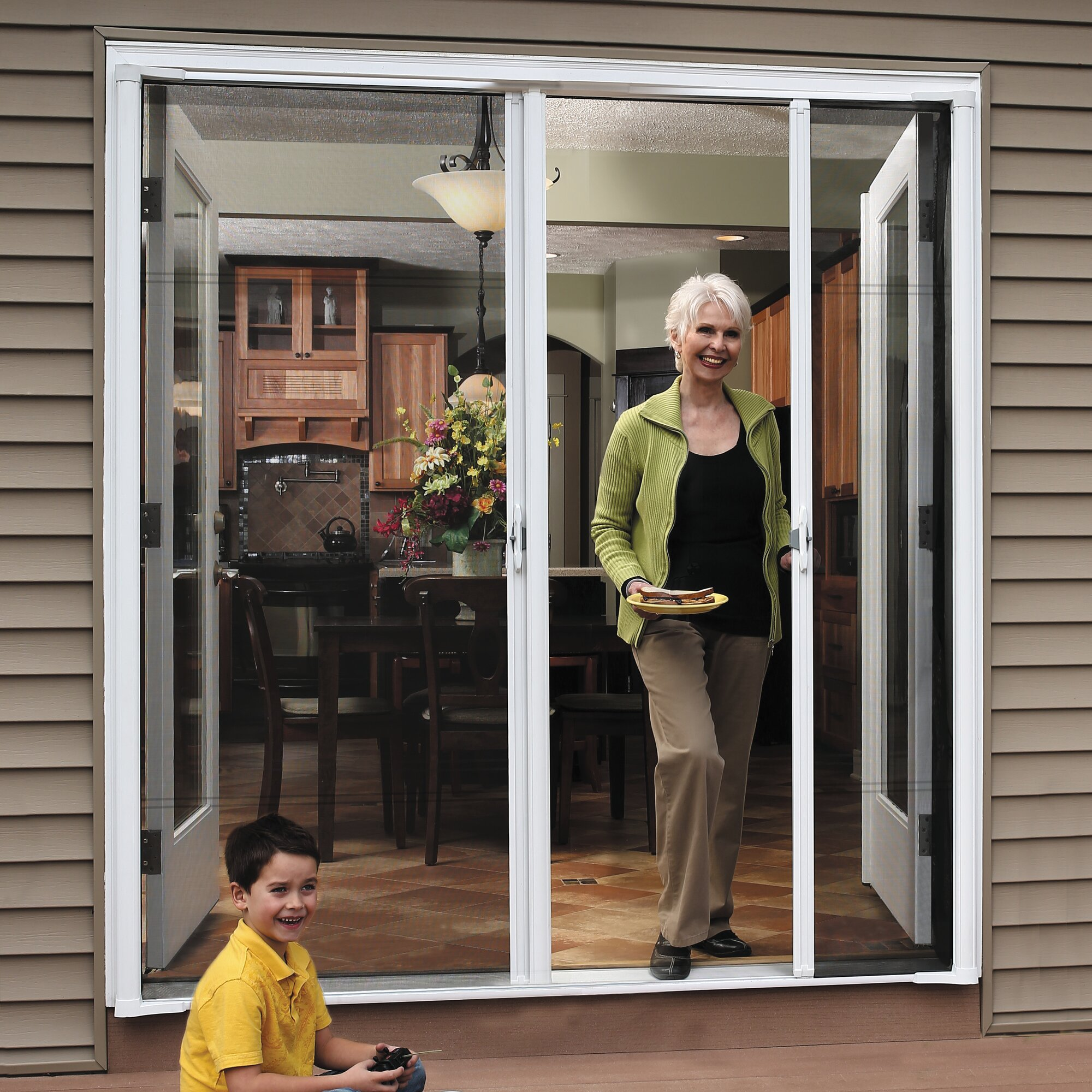 Zabitat brisa double screen door reviews wayfair for Double door screen door