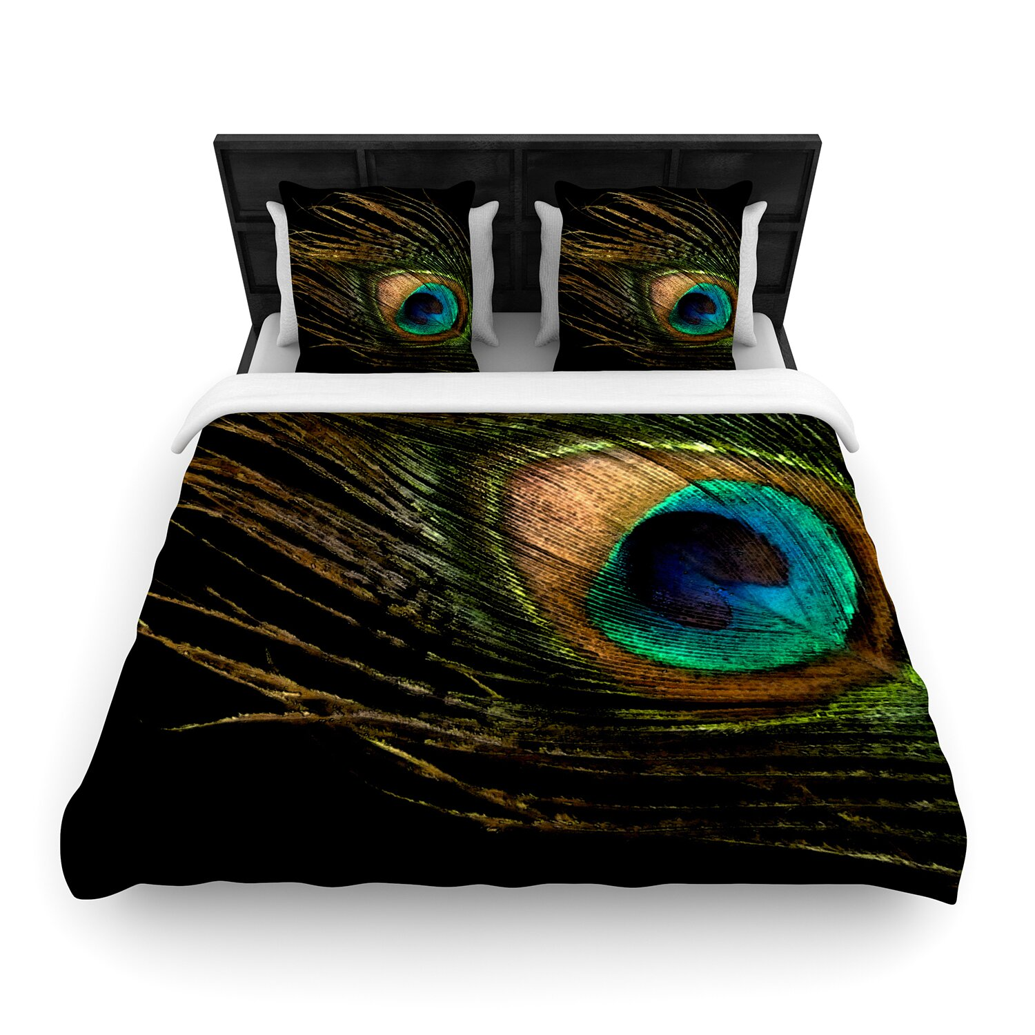 Peacock bathroom towels - Kess Inhouse Peacock By Alison Coxon Featherweight Duvet Cover