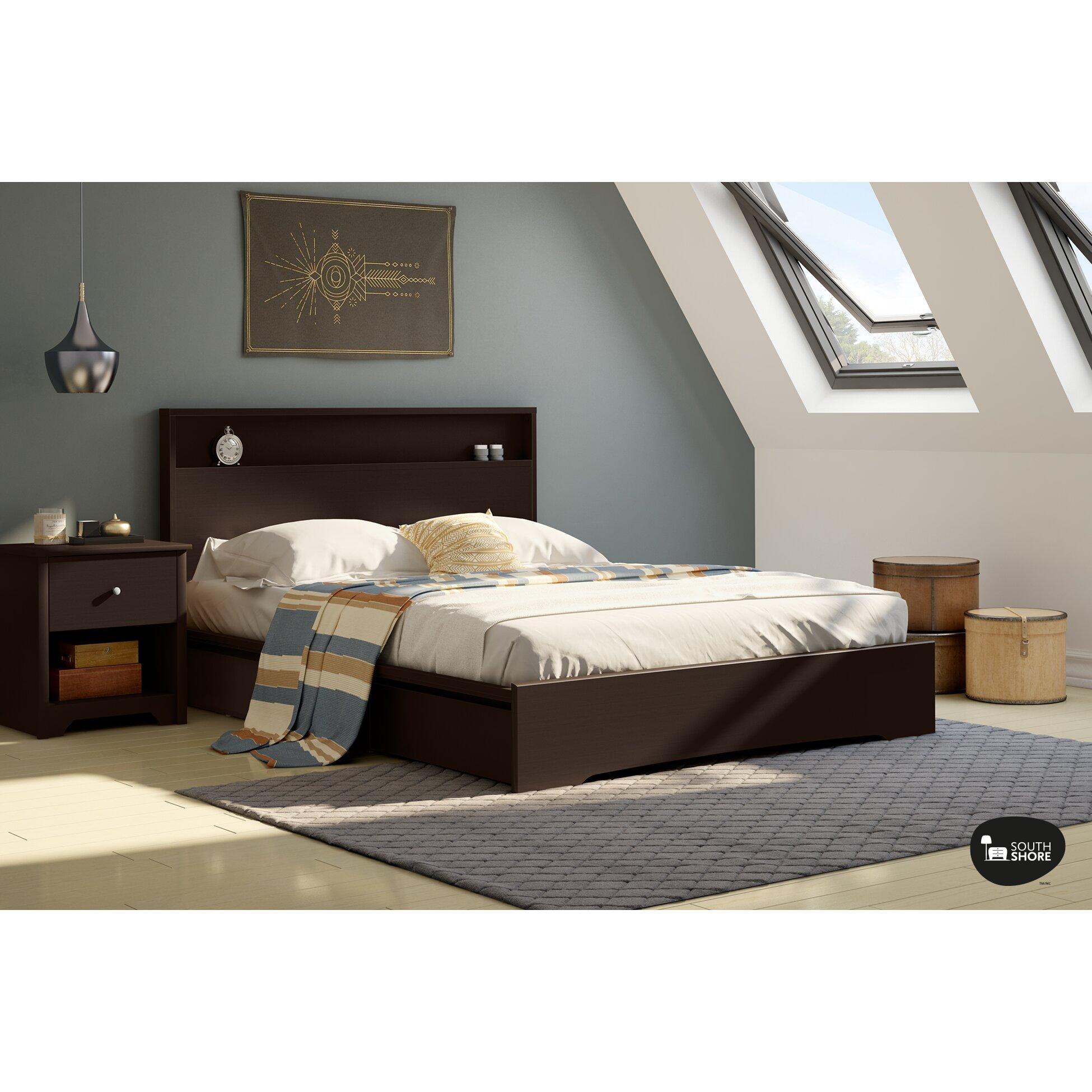 south shore basic queen storage platform bed