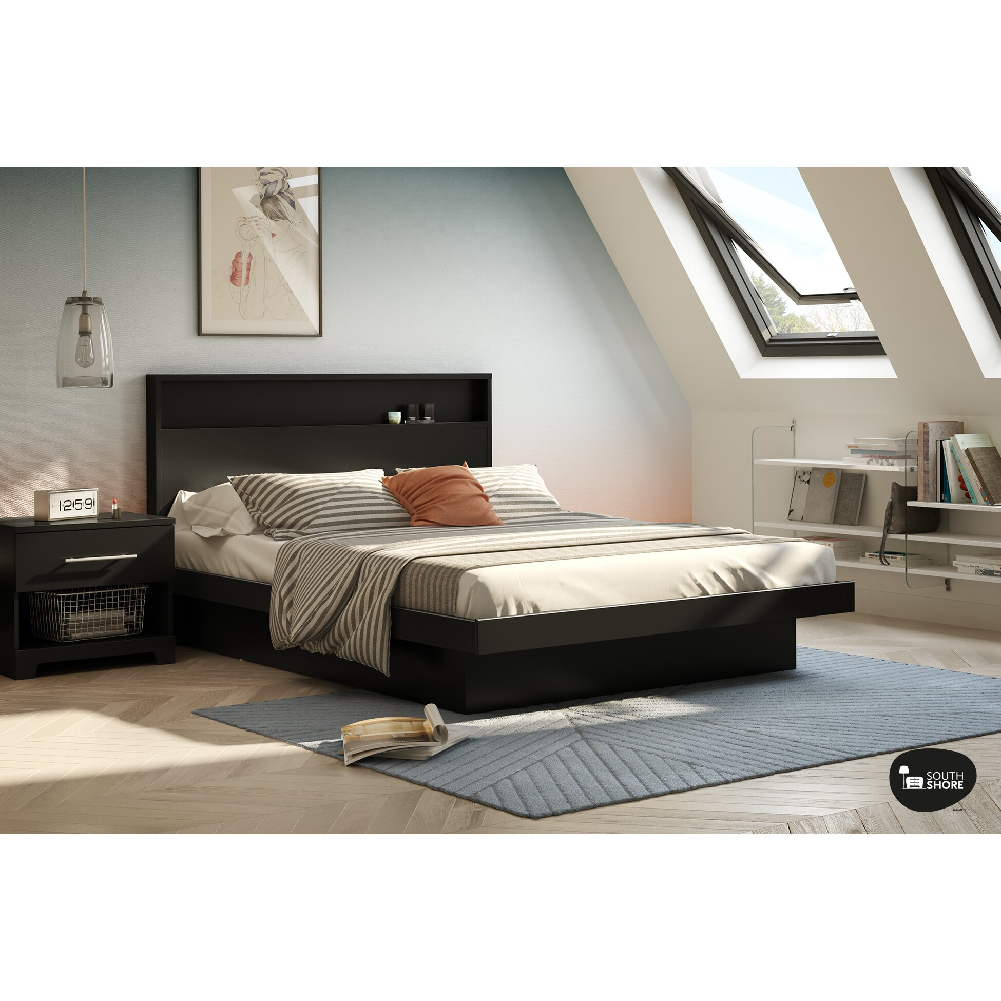 south shore basic queen platform bed