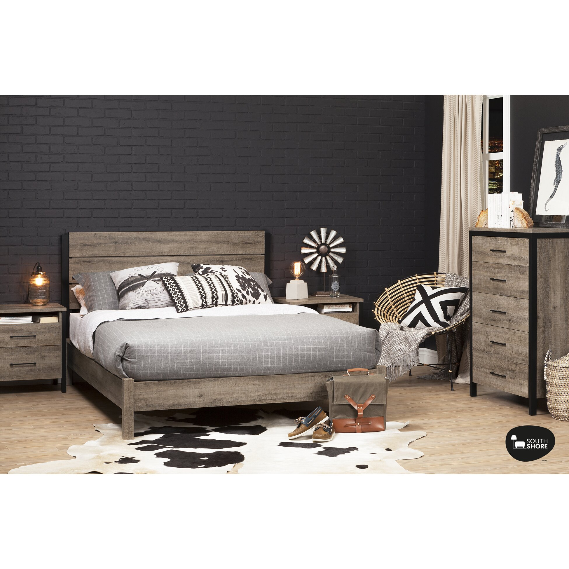 south shore munich queen platform bed
