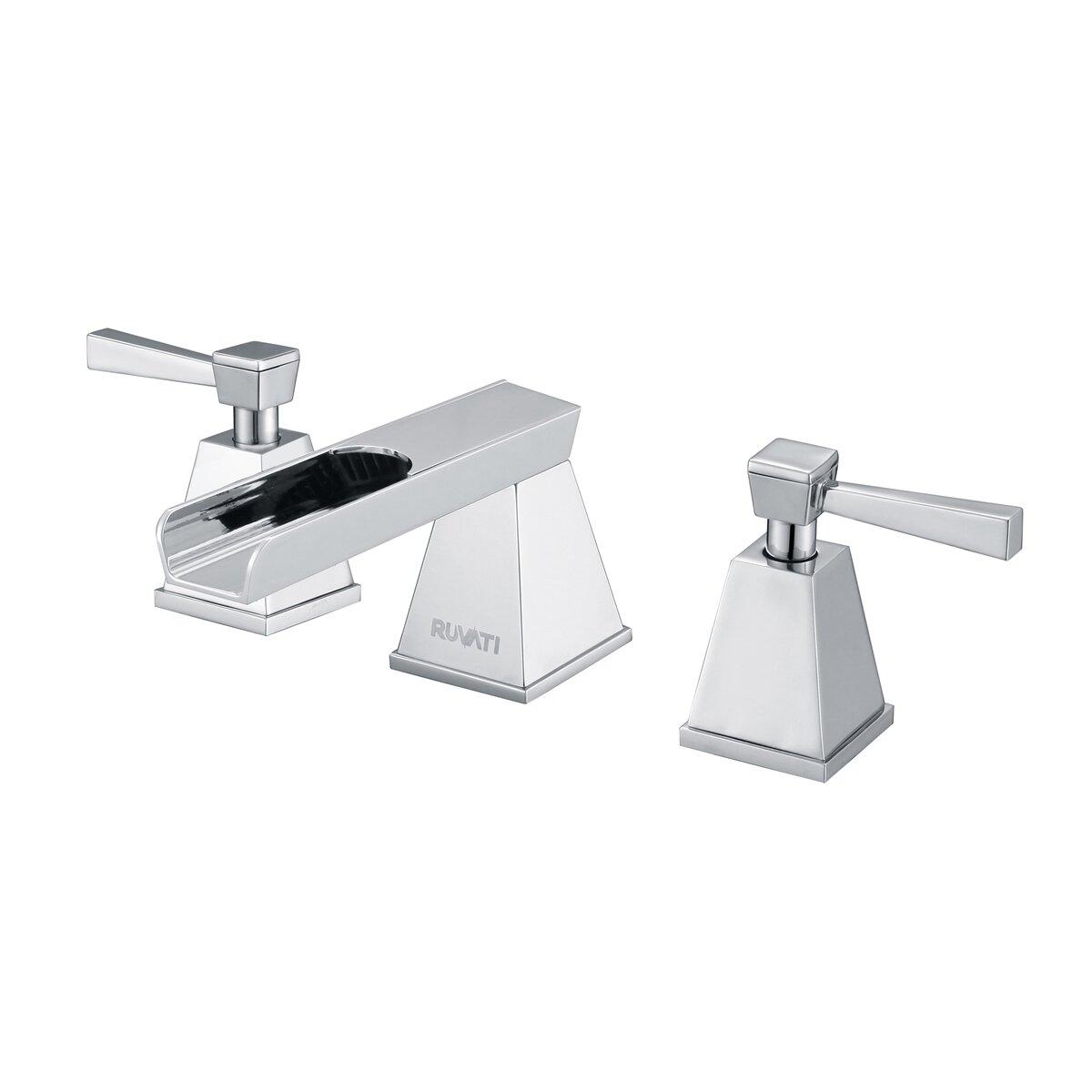 Ruvati waterfall double handle widespread bathroom faucet reviews wayfair for Bathroom sink faucets reviews