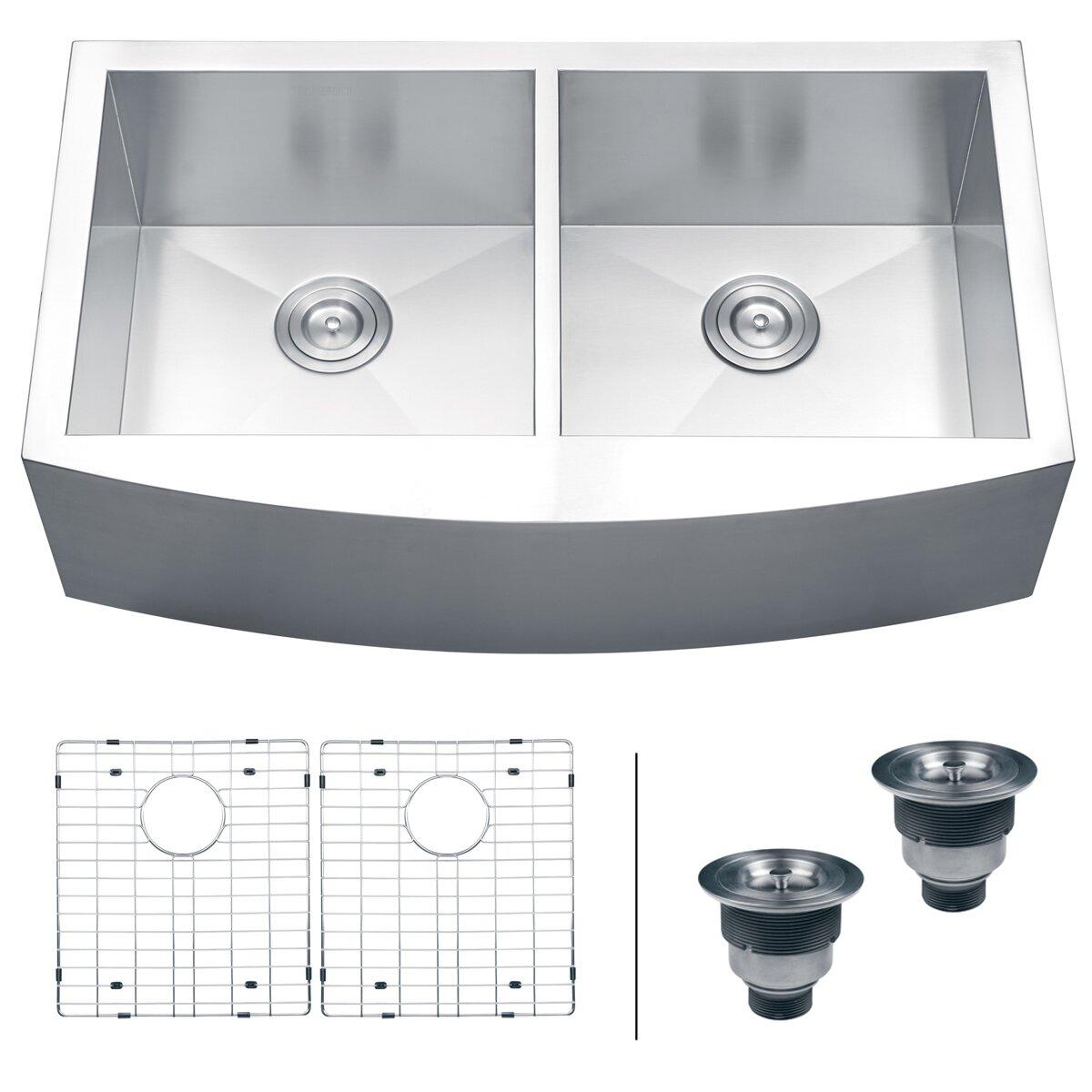 amazing 36 X 22 Kitchen Sink #3: Ruvati Verona 36u0026quot; x 21u0026quot; Apron Front Double ...
