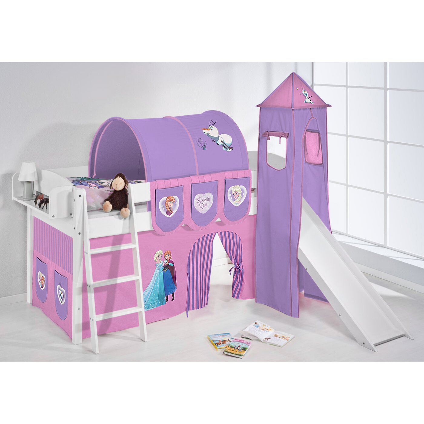 lilokids hochbett disney 39 s frozen mit turm rutsche und vorhang 90 x 200 cm bewertungen. Black Bedroom Furniture Sets. Home Design Ideas