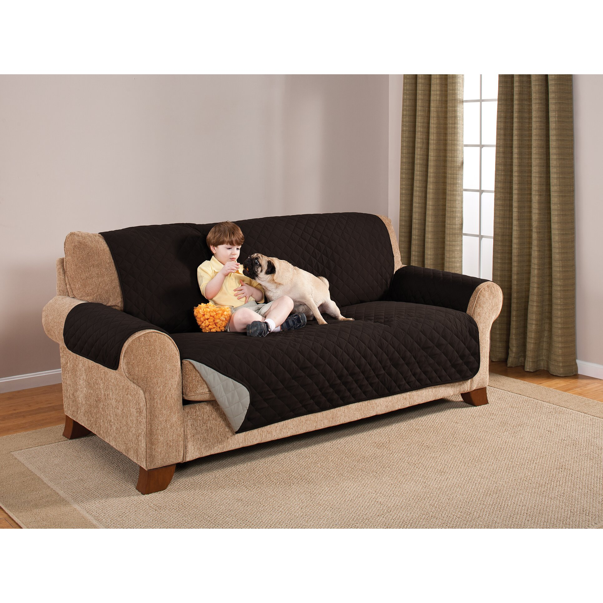 black gray quilted reversible microfiber pet dog cat couch m