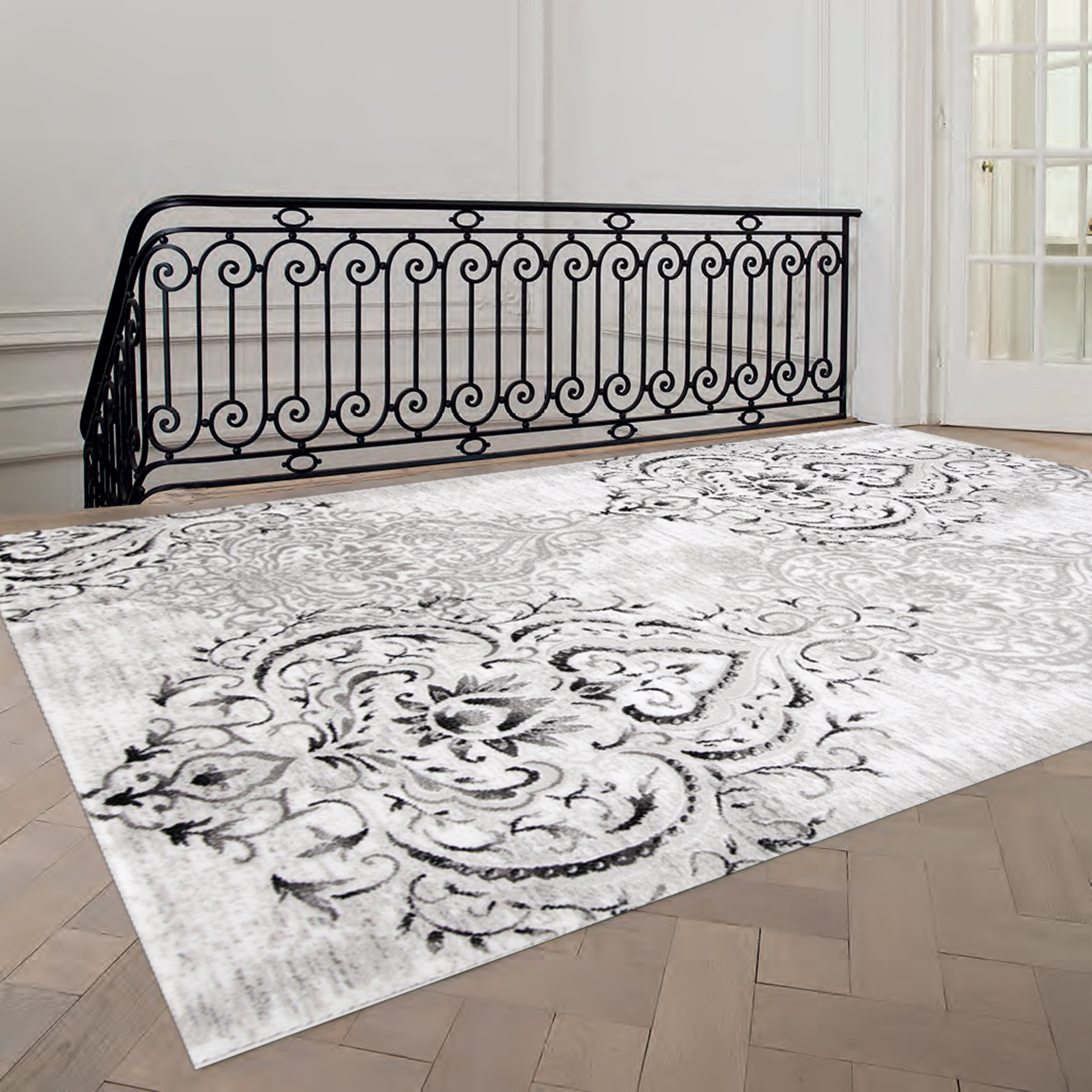 white area rug kalora platinum venetian grey white area rug amp reviews 28834