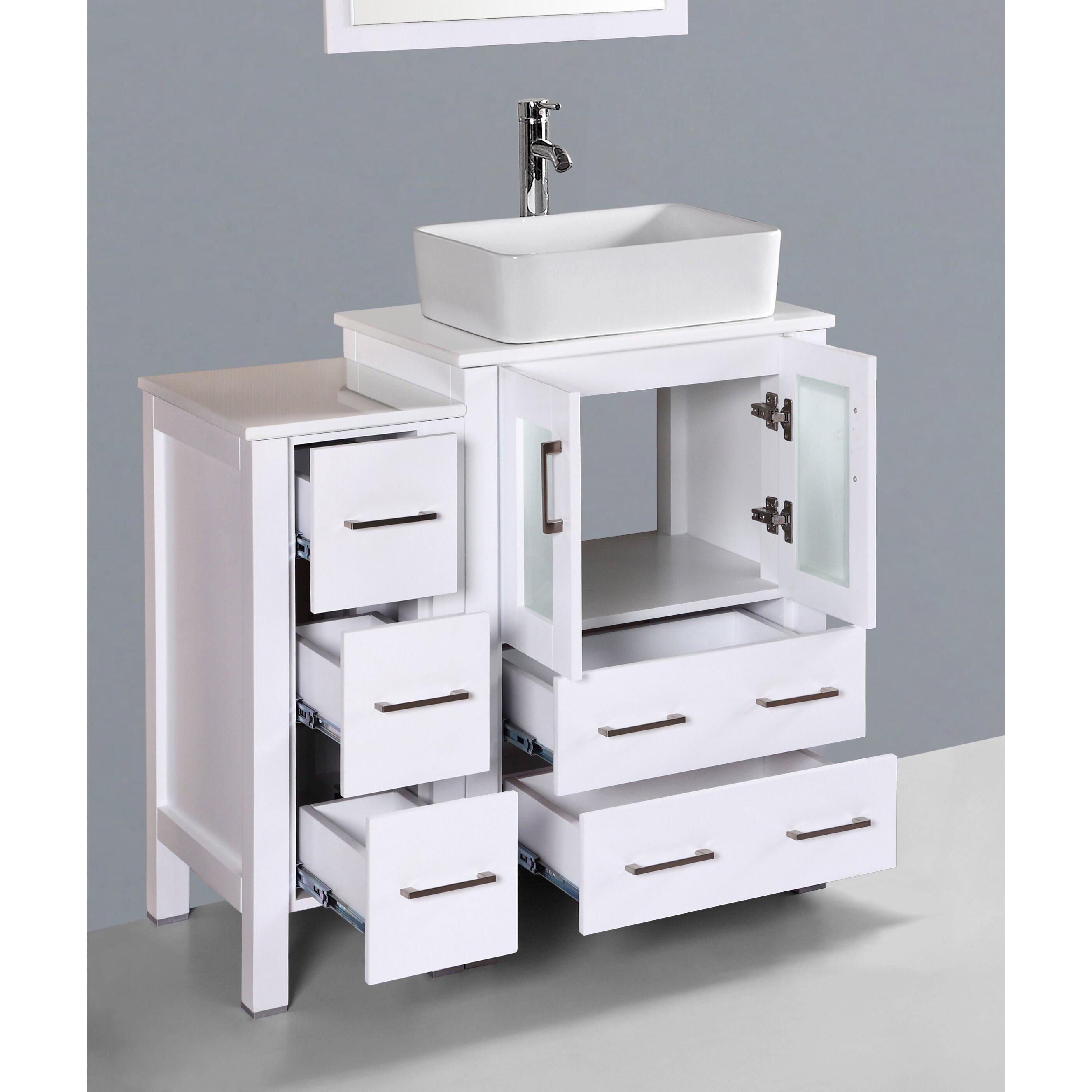 "Mirrored Bathroom Vanity Toronto: Wade Logan Brigantine 36"" Single Bathroom Vanity Set With"