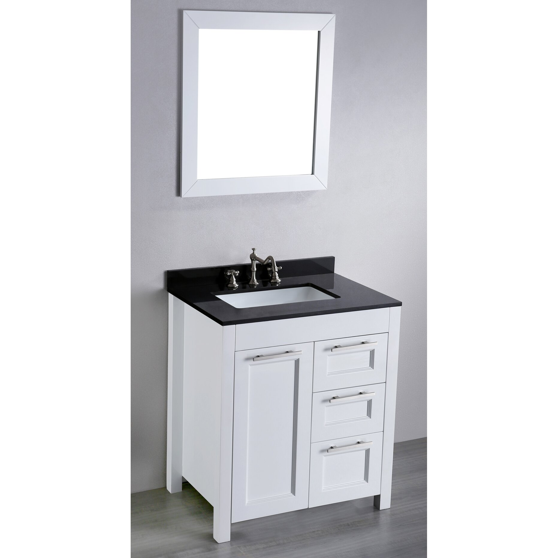 Bosconi contemporary 30 single bathroom vanity set with mirror reviews wayfair - Kona modern bathroom vanity set ...