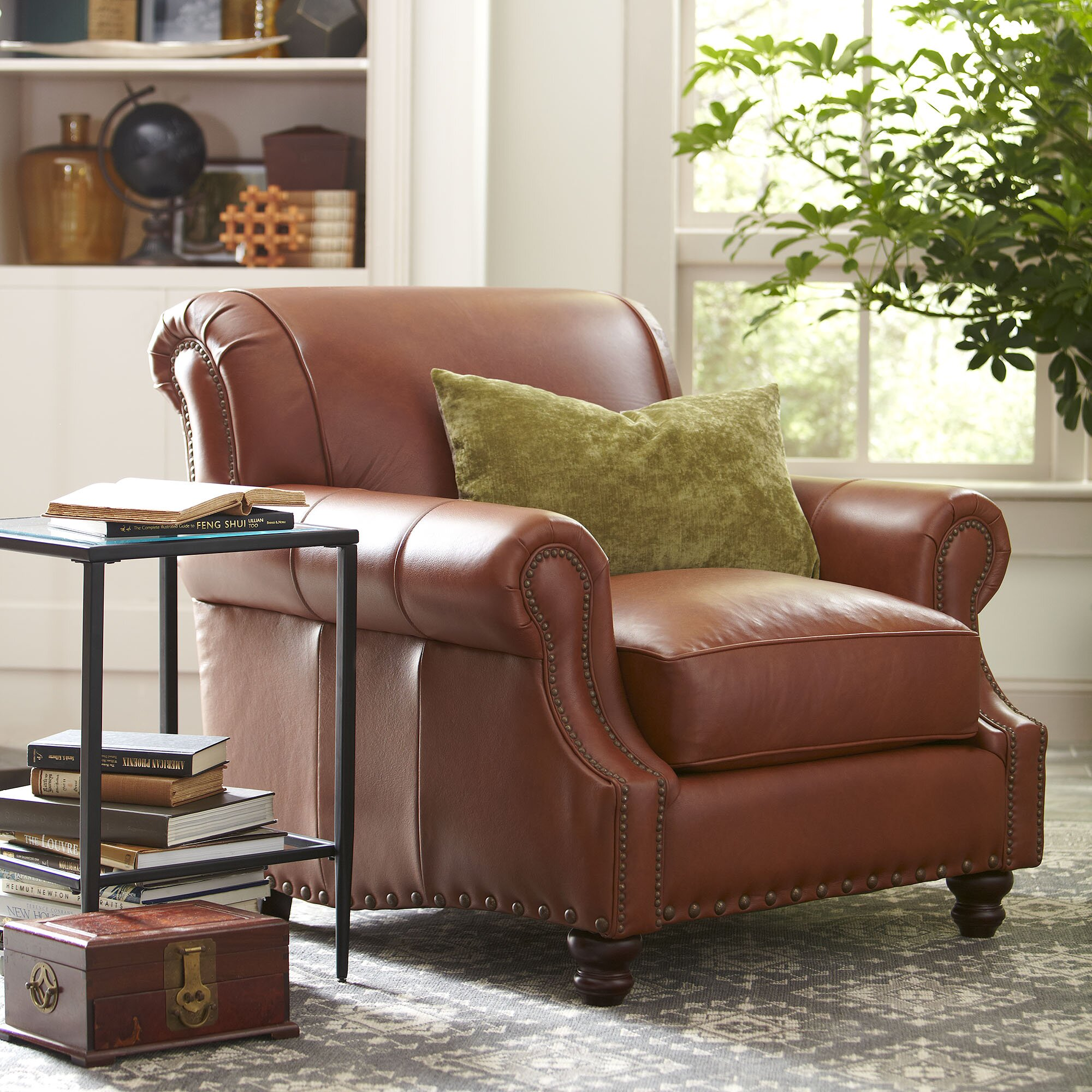 birch lane landry leather club chair - Brown Leather Club Chair