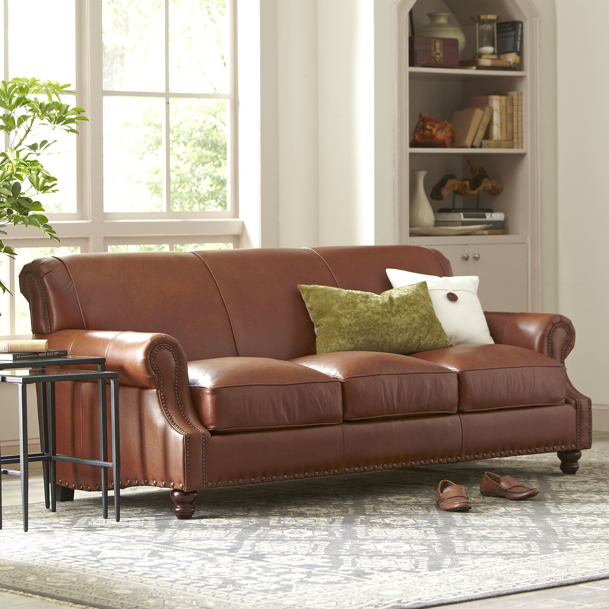 Living Room With Brown Leather Couch Landry Leather Sofa Reviews Birch Lane