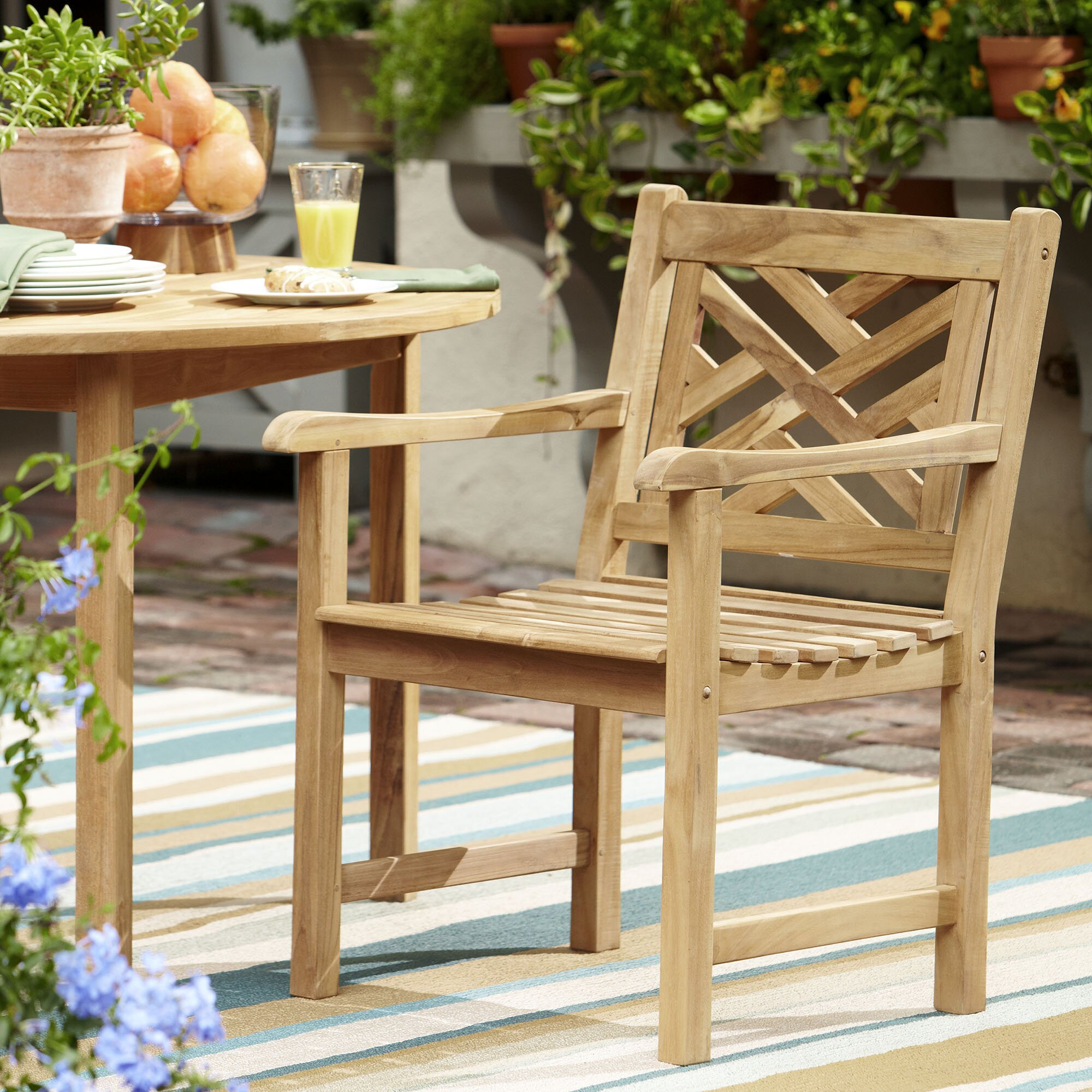 birch lane summerton teak lattice back arm chair reviews wayfair