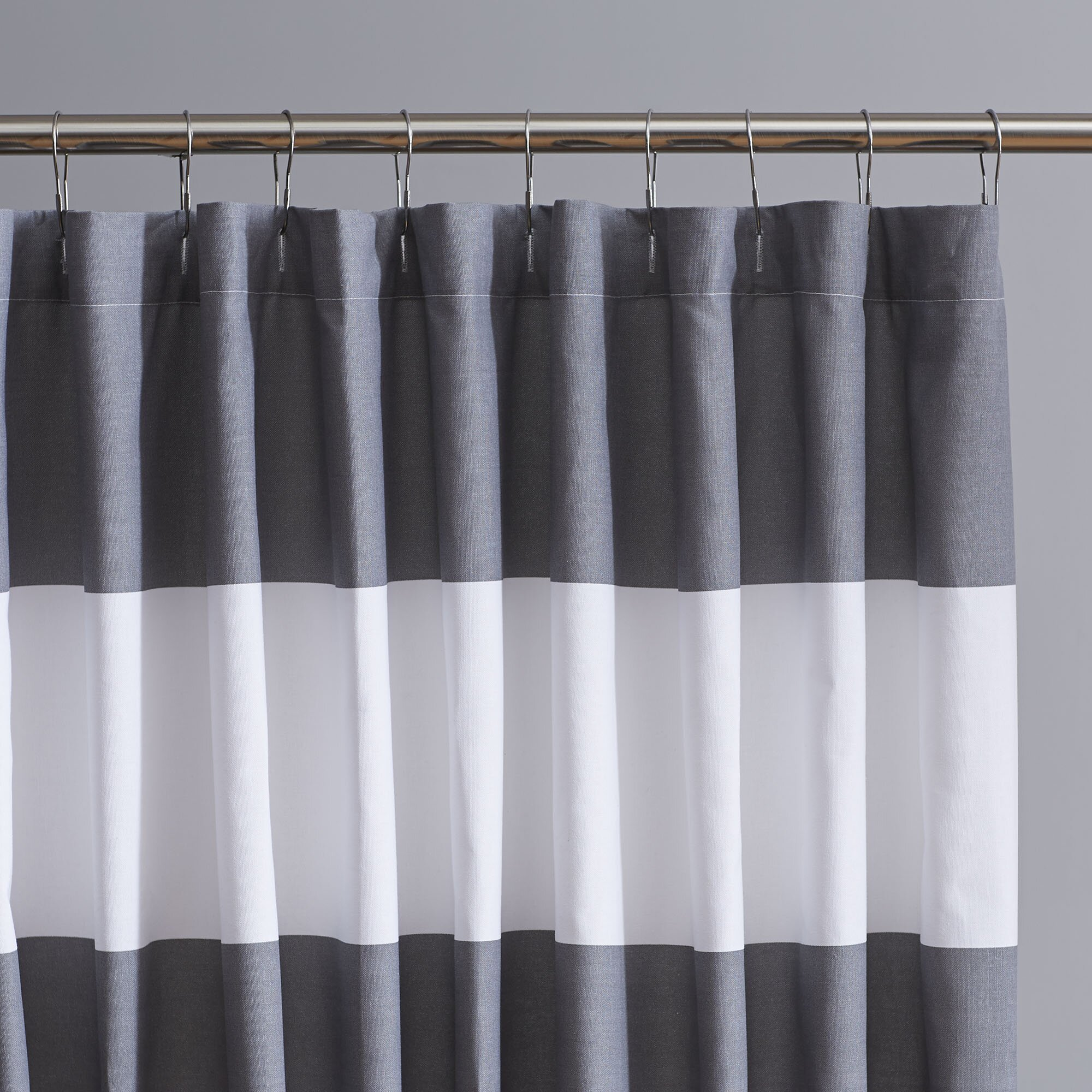 grey and white striped shower curtain harlow striped shower curtain