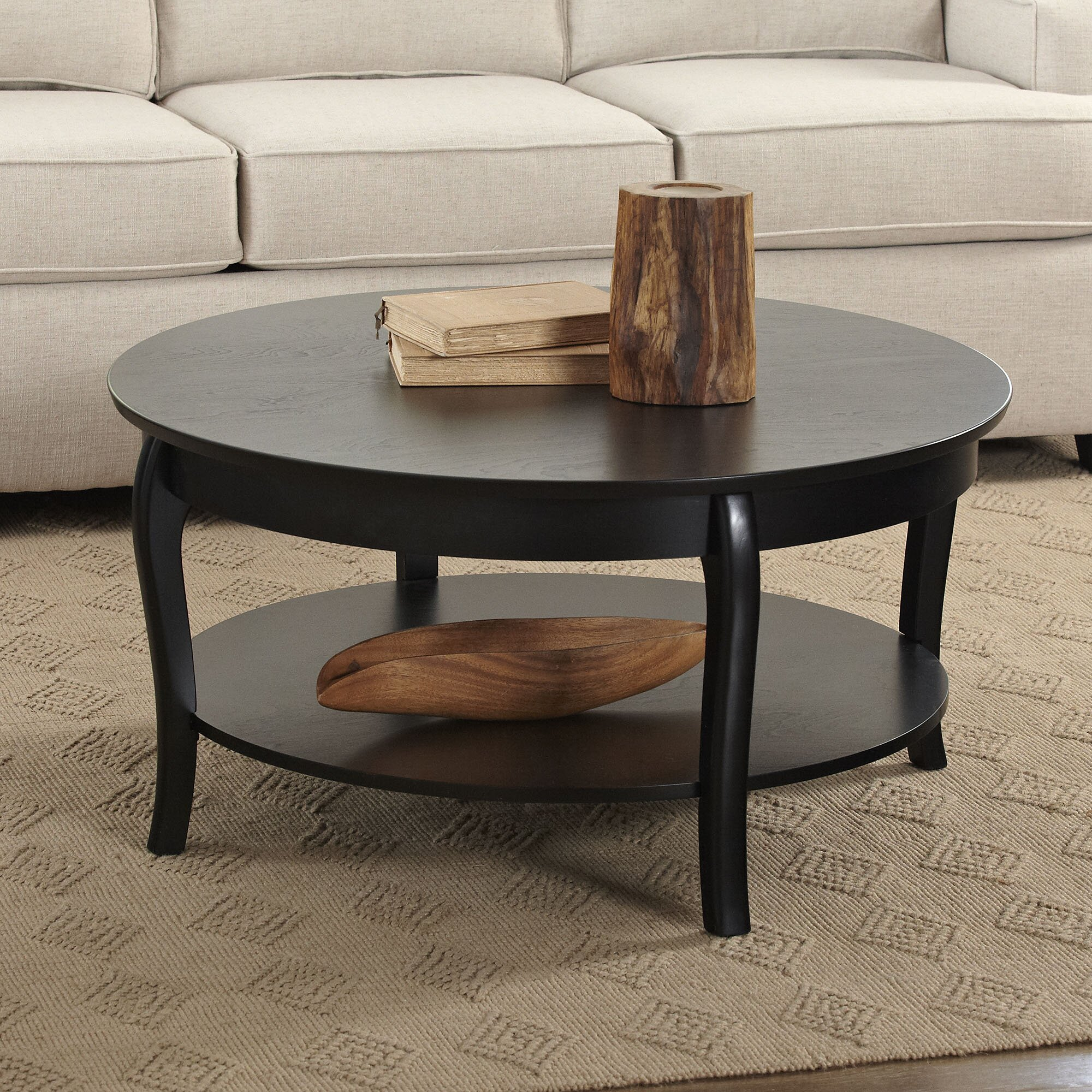 Scrolled metal and wood coffee table - Alberts Round Coffee Table