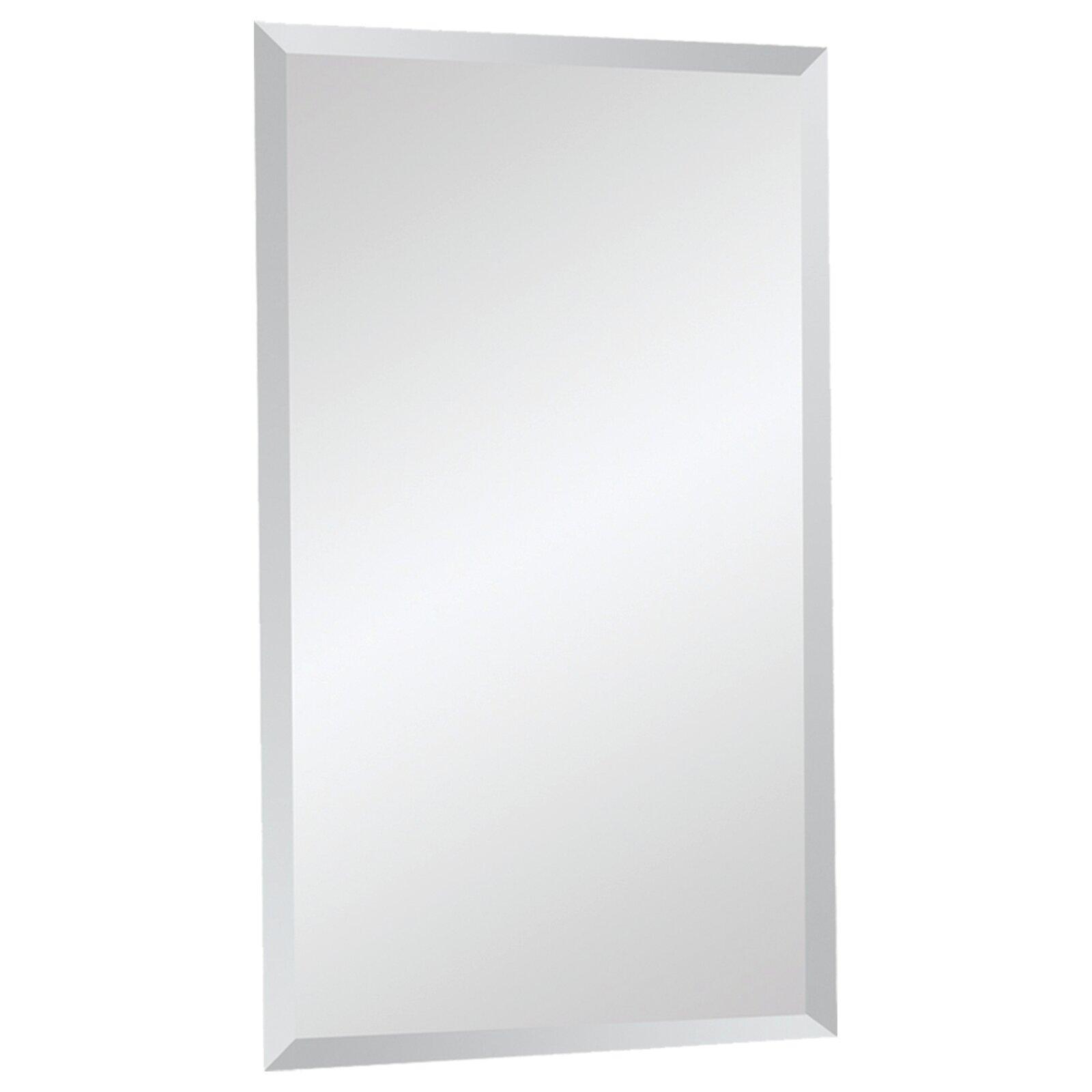 Beveled Bathroom Mirror #33: Ren-Wil Frameless Beveled Rectangular Wall Mirror