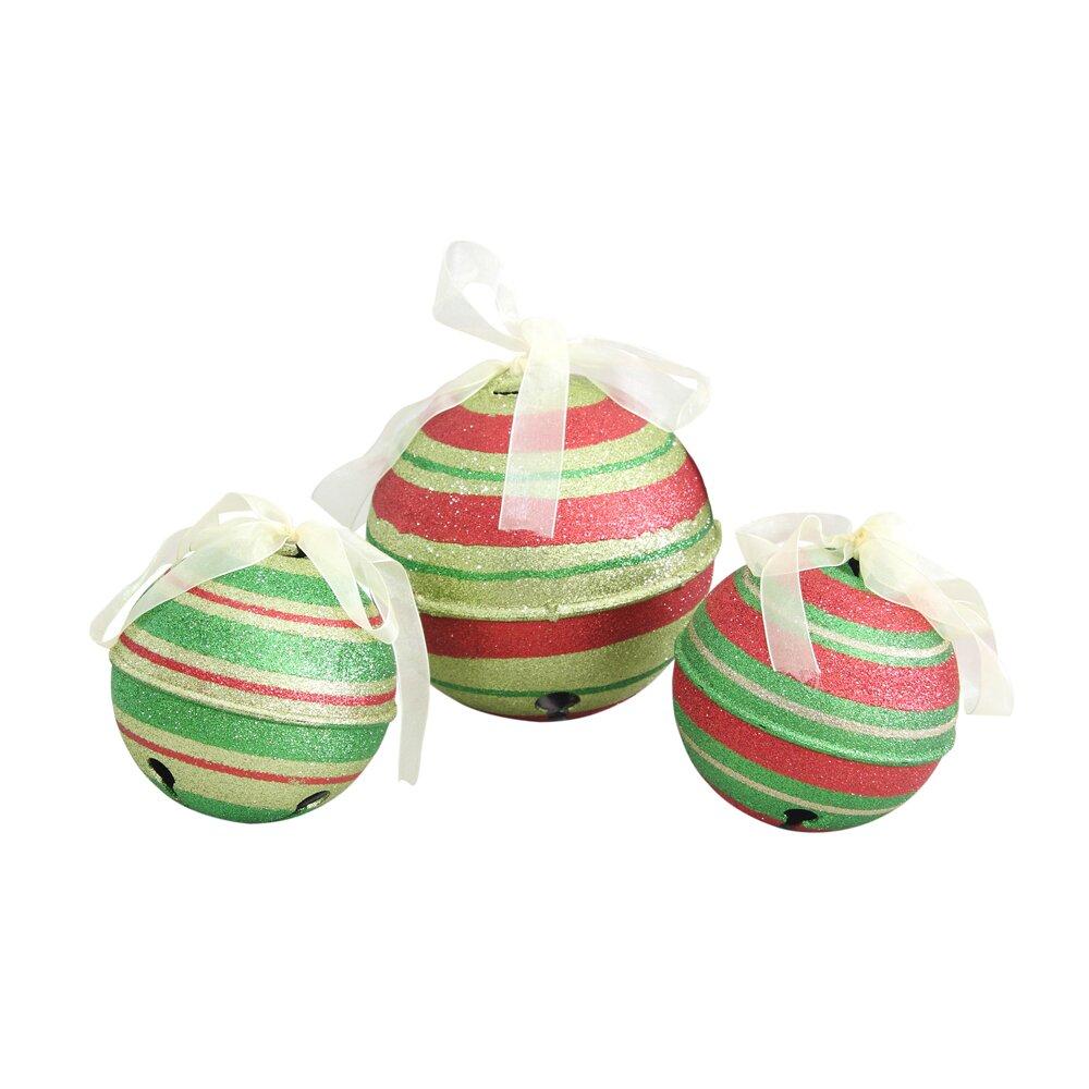 Jingle bell ornaments - Jeco Inc 3 Piece Glitter Jingle Bell Ornaments Set