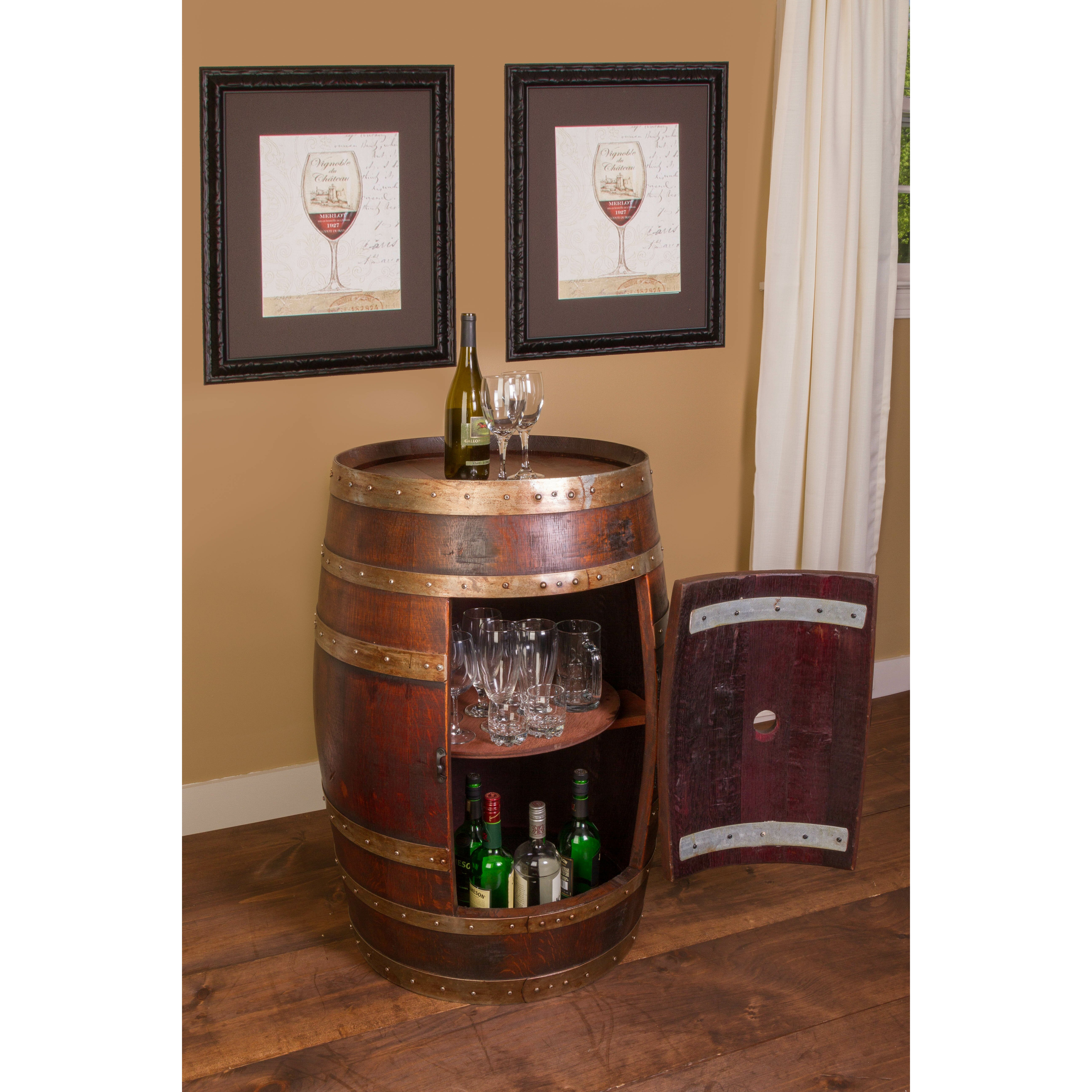 Napa East Collection Wine Barrel Bar with Bar Cabinet
