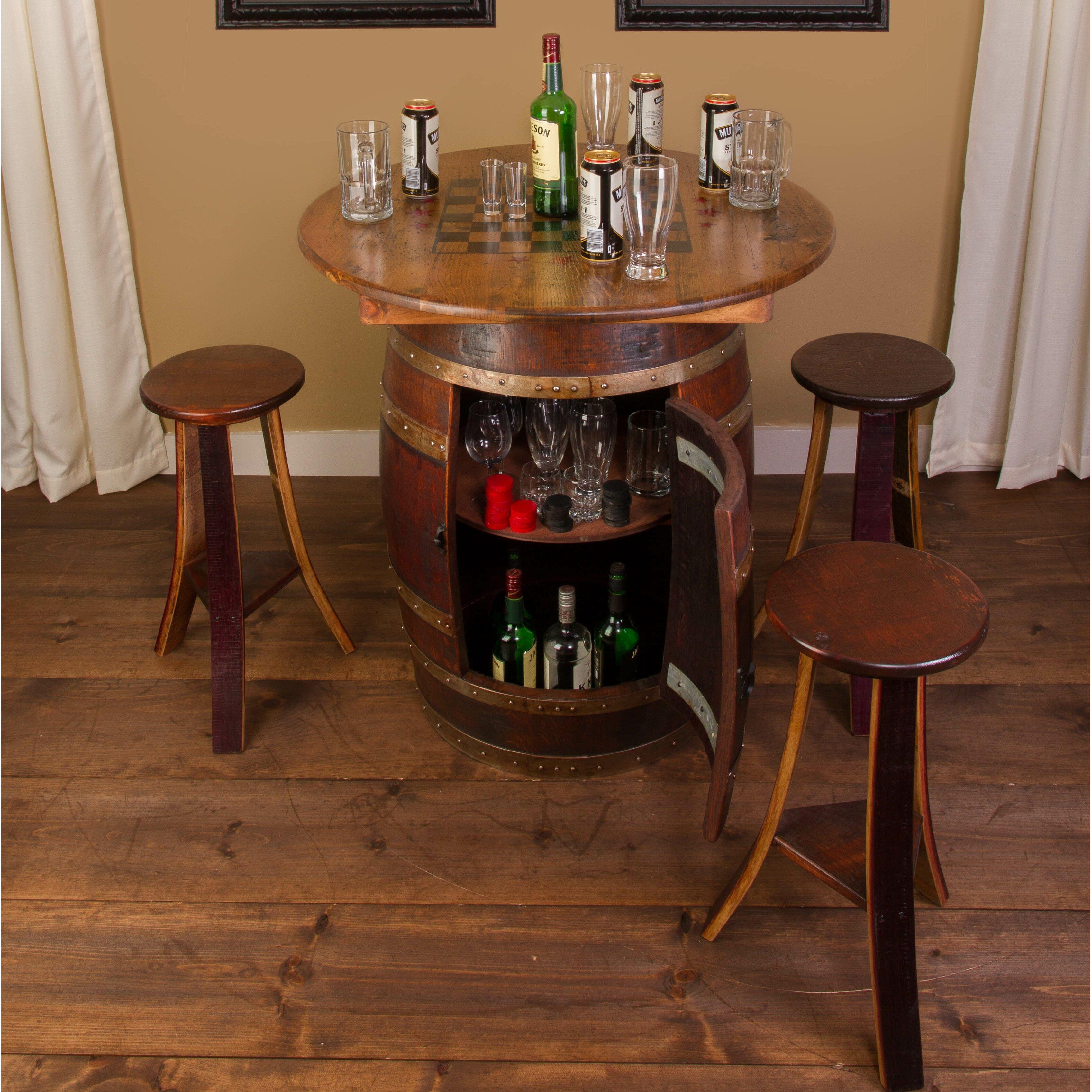 5 Piece Bar Table Set Napa East Collection Whiskey Barrel 5 Piece Pub Table Set Wayfair